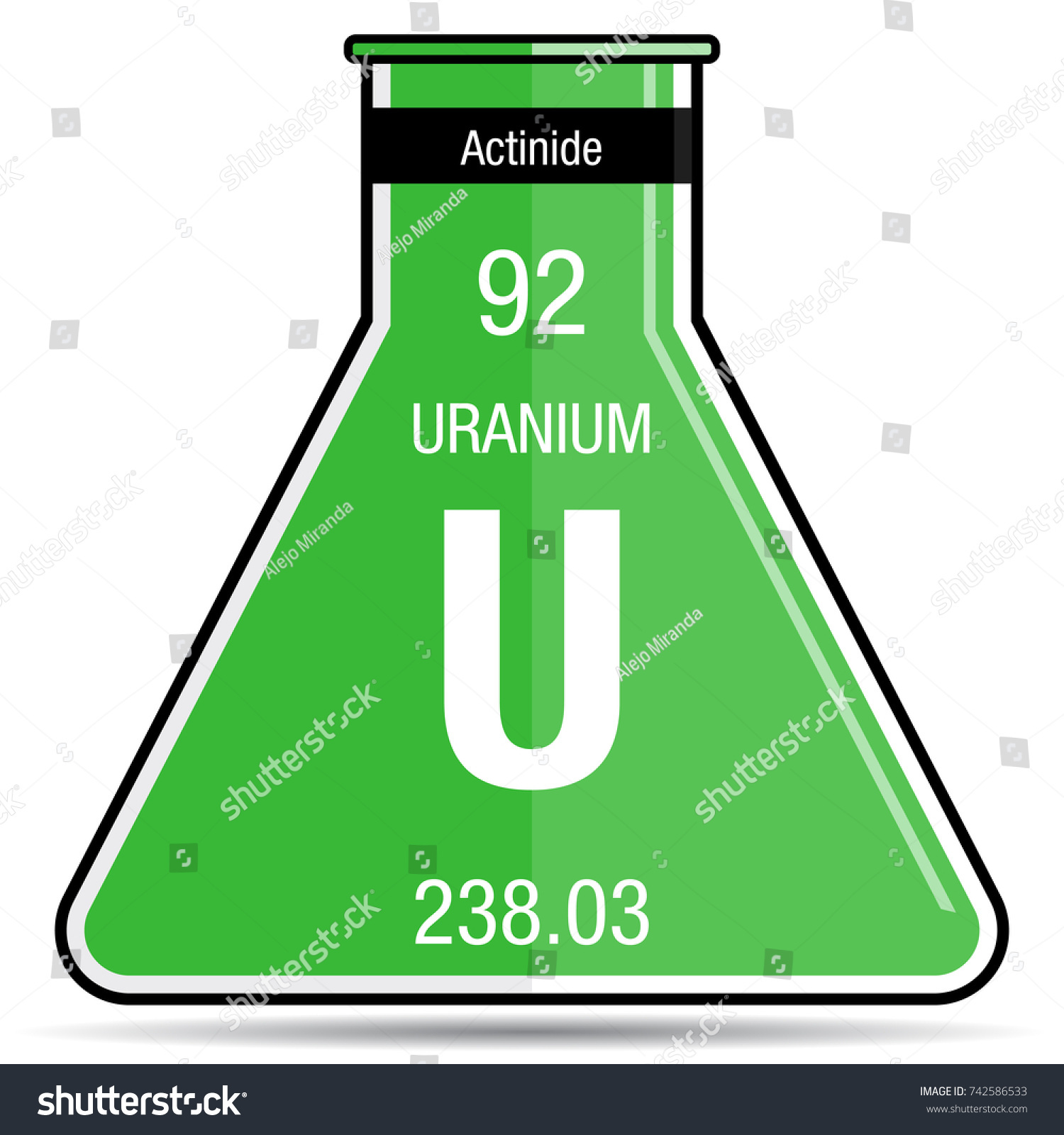 Uranium symbol on chemical flask element stock vector 742586533 uranium symbol on chemical flask element number 92 of the periodic table of the elements gamestrikefo Choice Image