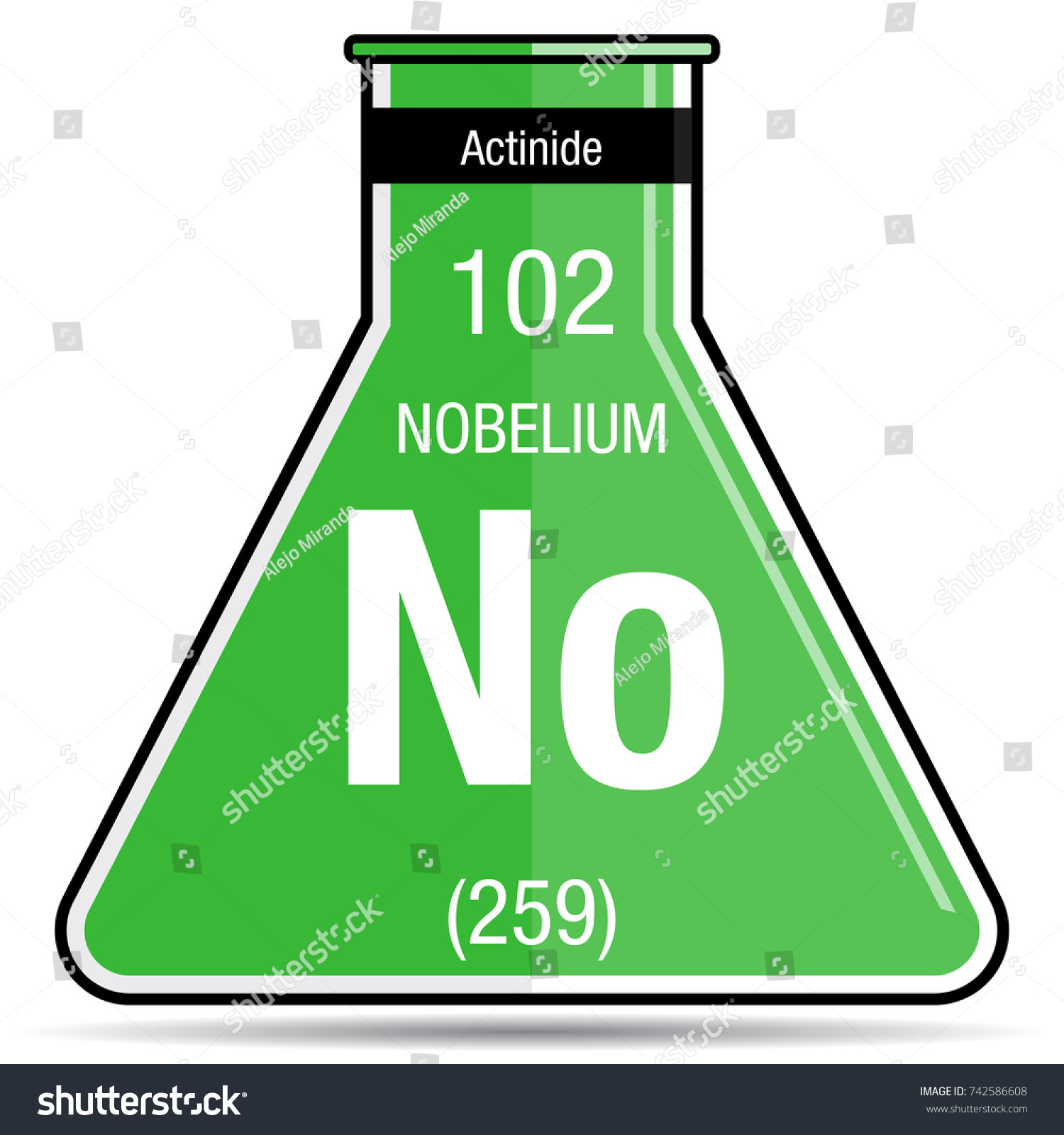 Nobelium symbol on chemical flask element stock vector 742586608 nobelium symbol on chemical flask element number 102 of the periodic table of the elements buycottarizona