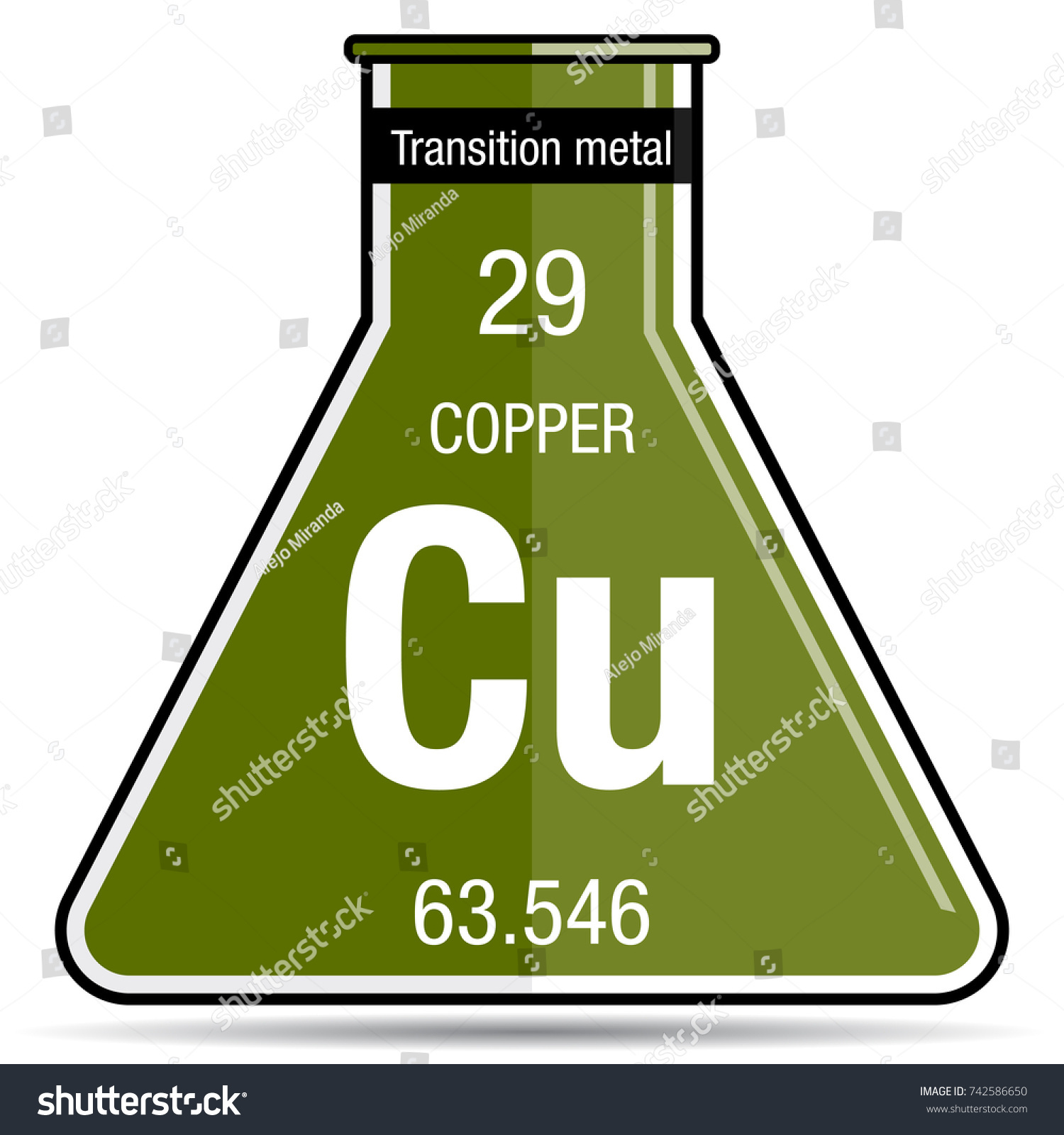 Copper symbol on chemical flask element stock vector 742586650 copper symbol on chemical flask element number 29 of the periodic table of the elements buycottarizona