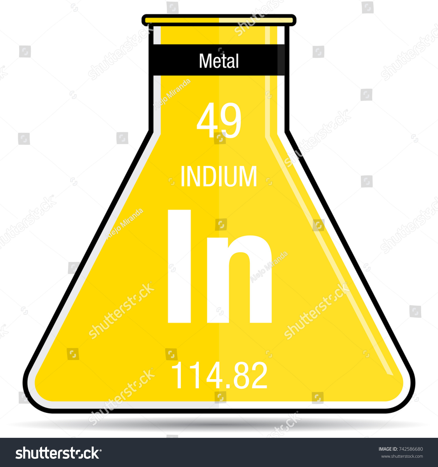 Indium symbol on chemical flask element stock vector 742586680 indium symbol on chemical flask element number 49 of the periodic table of the elements gamestrikefo Gallery