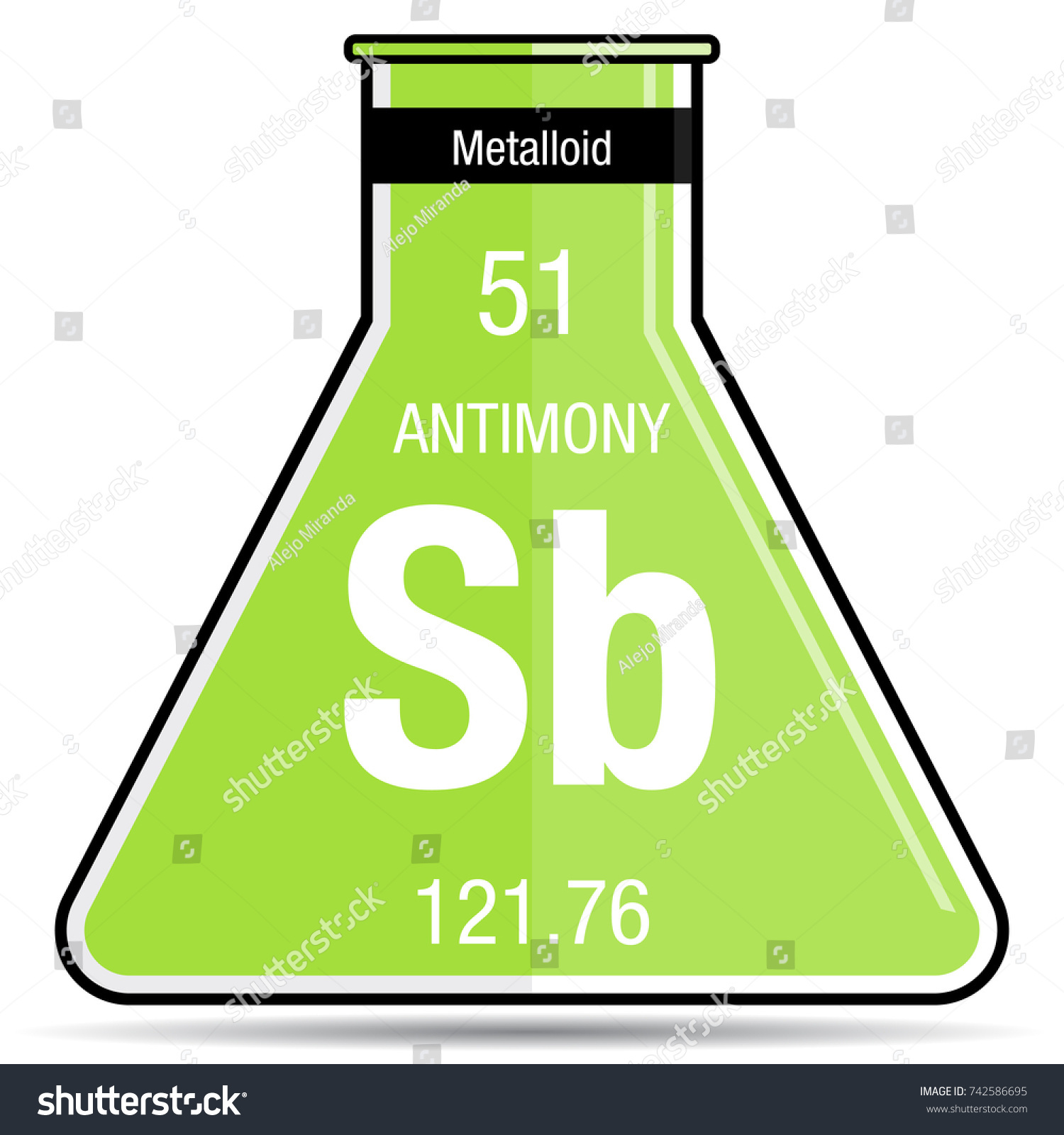 Antimony symbol on chemical flask element stock vector 742586695 antimony symbol on chemical flask element number 51 of the periodic table of the elements gamestrikefo Choice Image