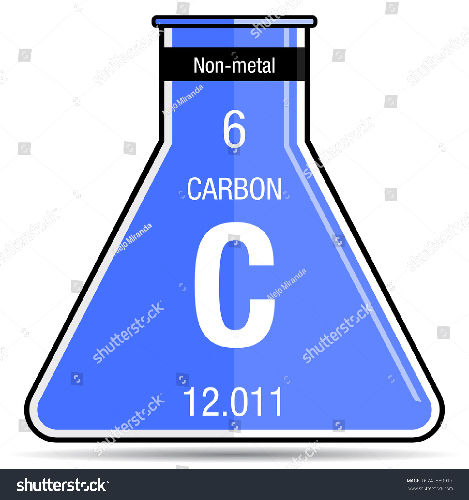 Carbon Symbol On Chemical Flask Element Stock Vector Royalty Free