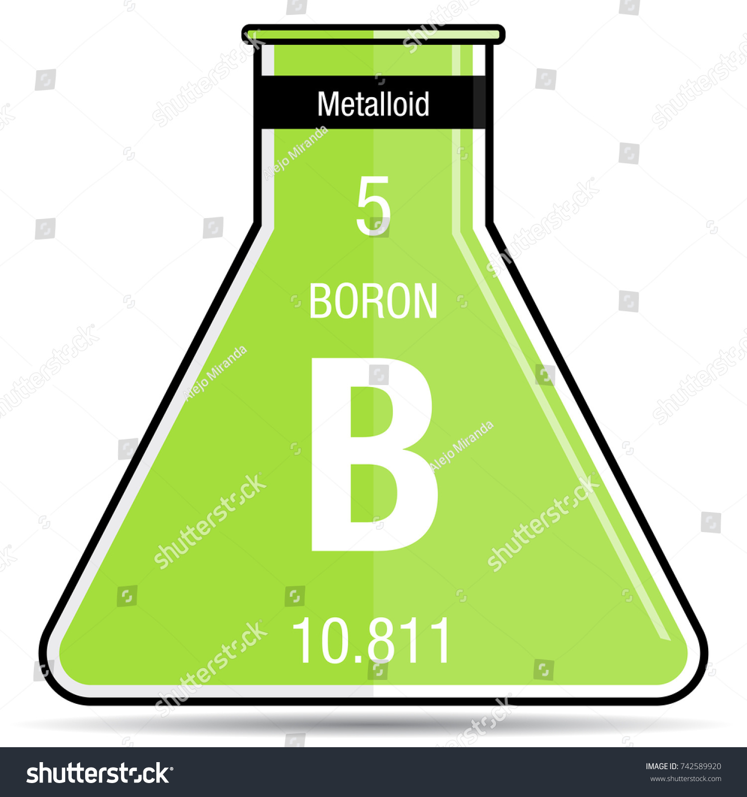 Boron symbol on chemical flask element stock vector 742589920 boron symbol on chemical flask element number 5 of the periodic table of the elements buycottarizona