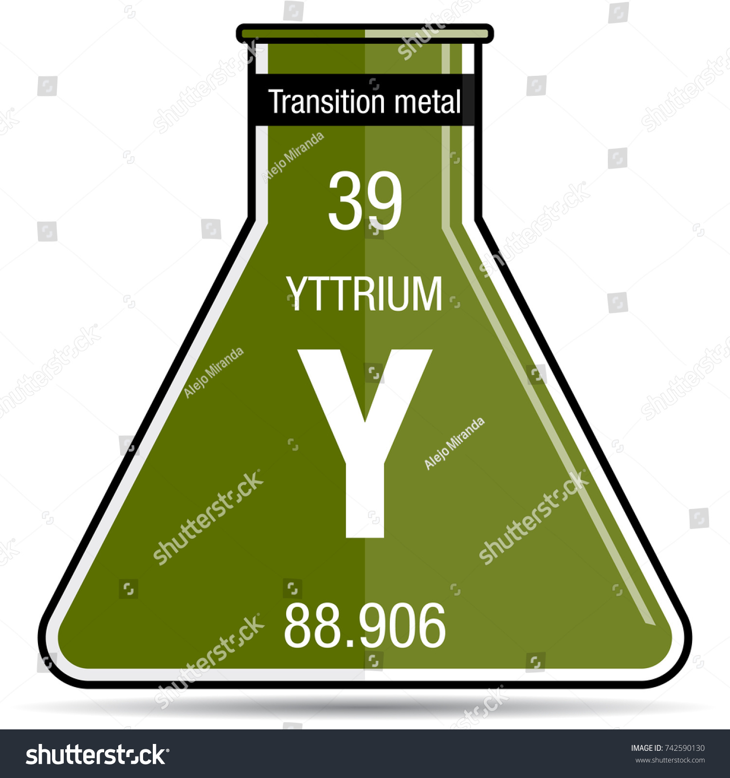 Yttrium symbol on chemical flask element stock vector 742590130 yttrium symbol on chemical flask element number 39 of the periodic table of the elements urtaz Images