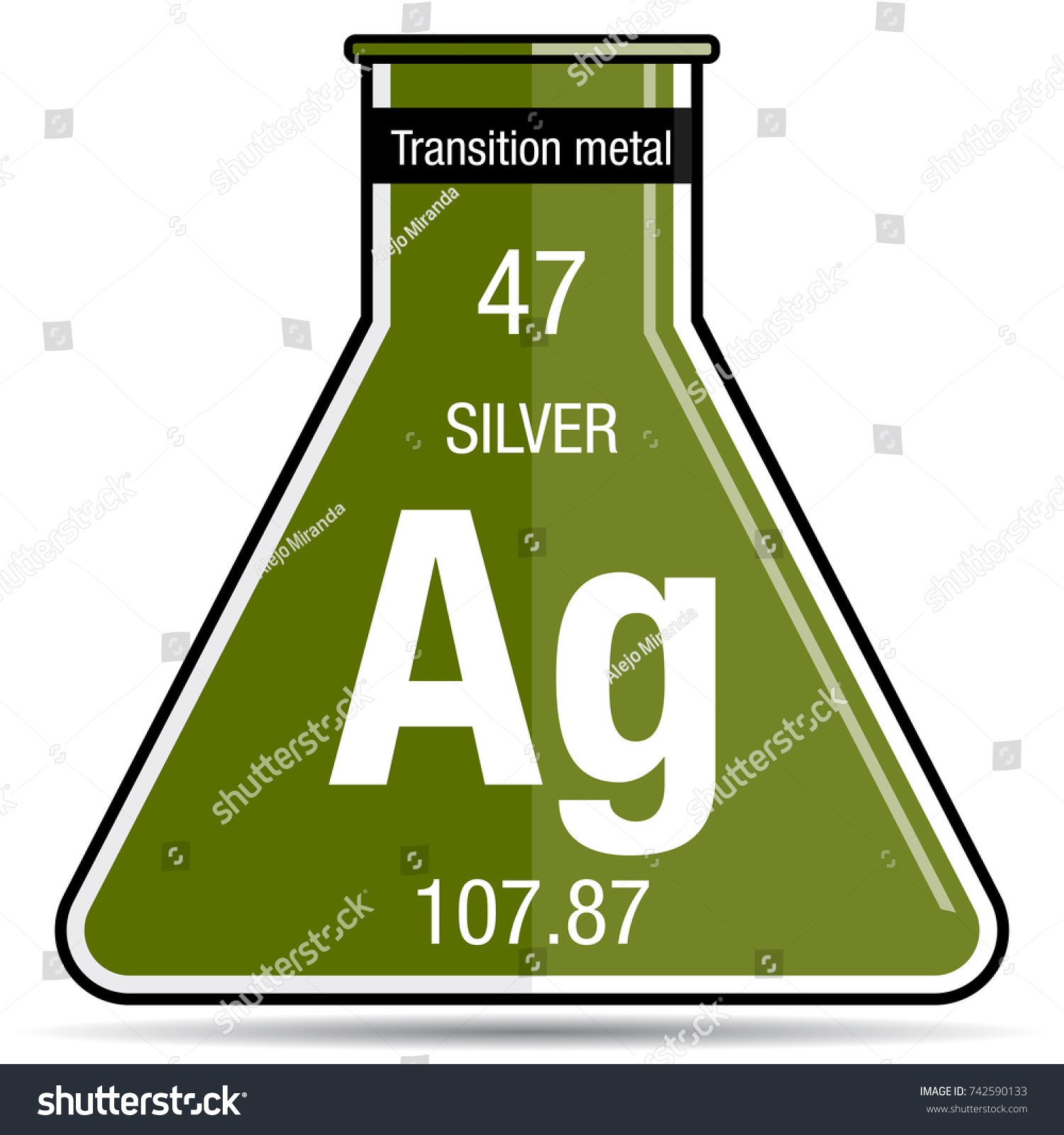 Silver symbol on chemical flask element stock vector 742590133 silver symbol on chemical flask element number 47 of the periodic table of the elements urtaz Image collections