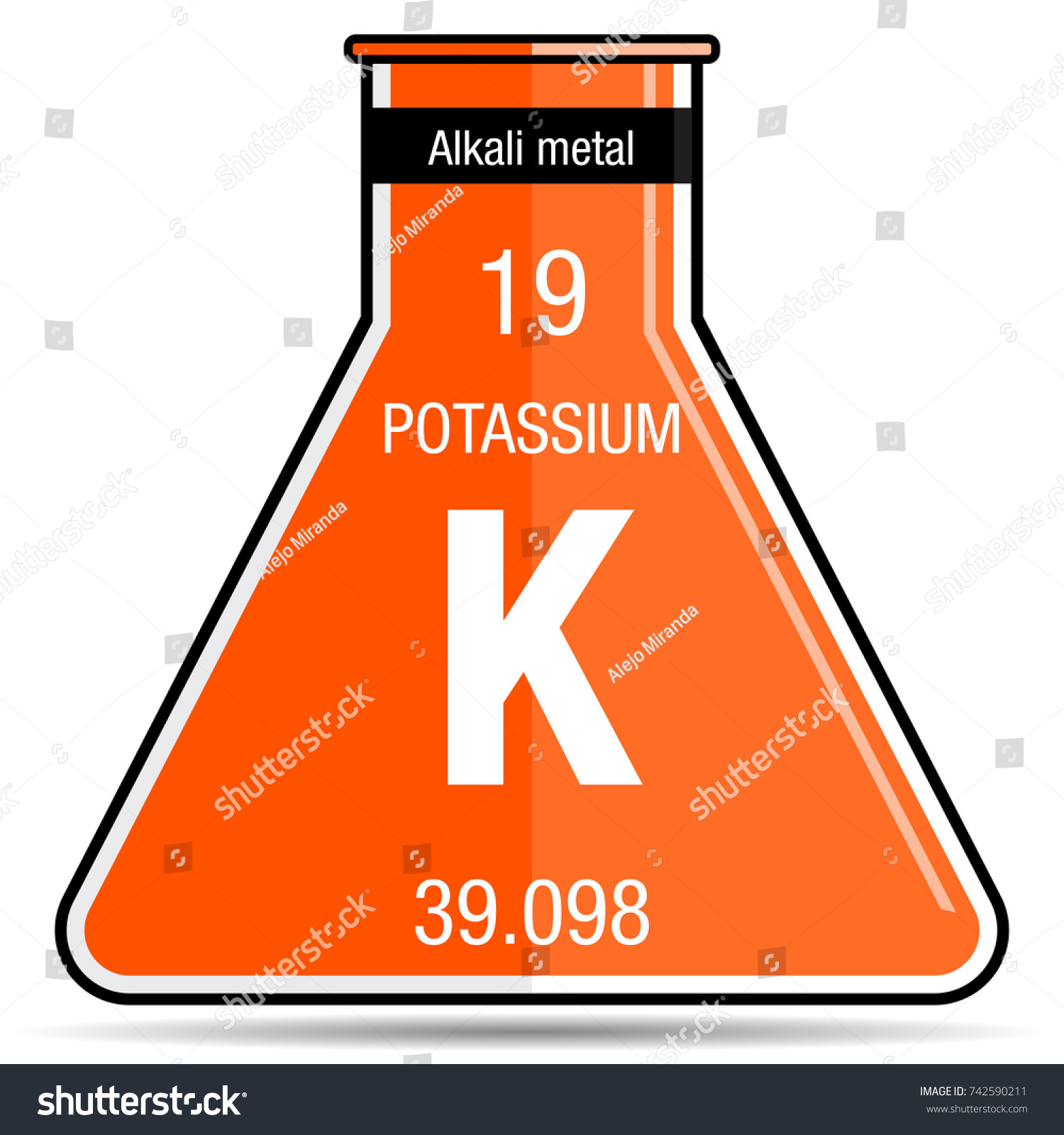 Potassium symbol on chemical flask element stock vector royalty potassium symbol on chemical flask element number 19 of the periodic table of the elements urtaz Image collections