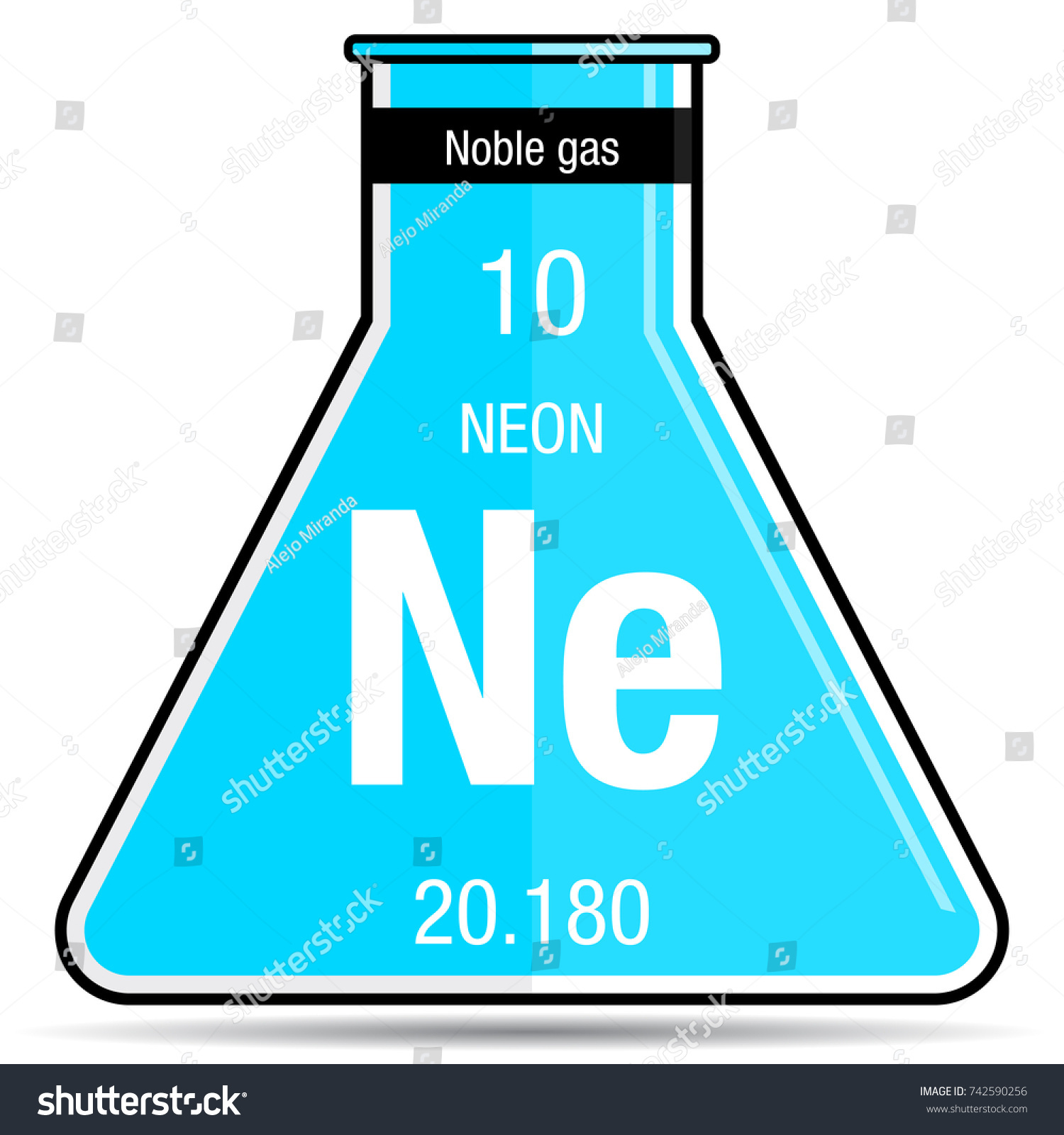Neon Symbol On Chemical Flask. Element Number 10 Of The Periodic Table Of  The Elements