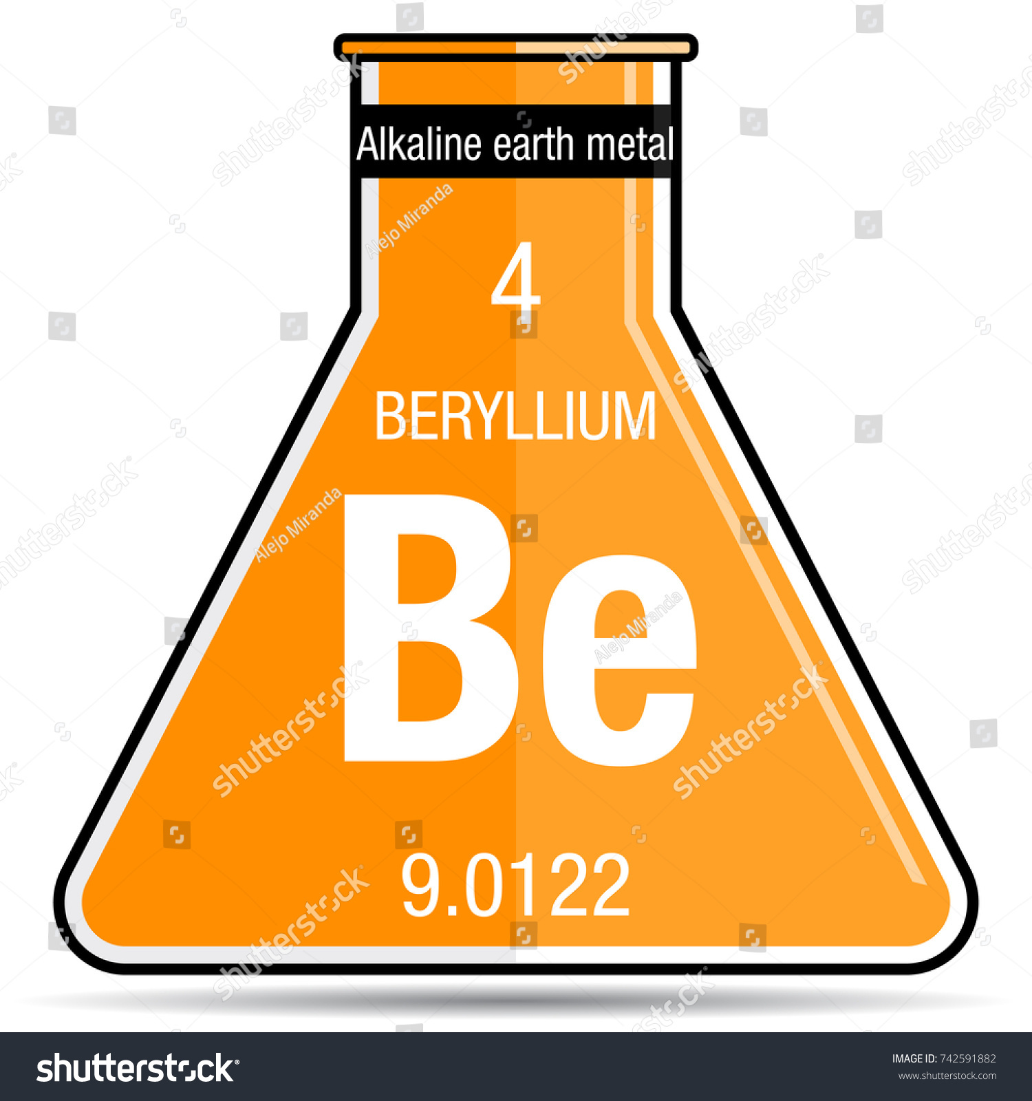 Beryllium symbol on chemical flask element stock vector 742591882 beryllium symbol on chemical flask element number 4 of the periodic table of the elements biocorpaavc Images