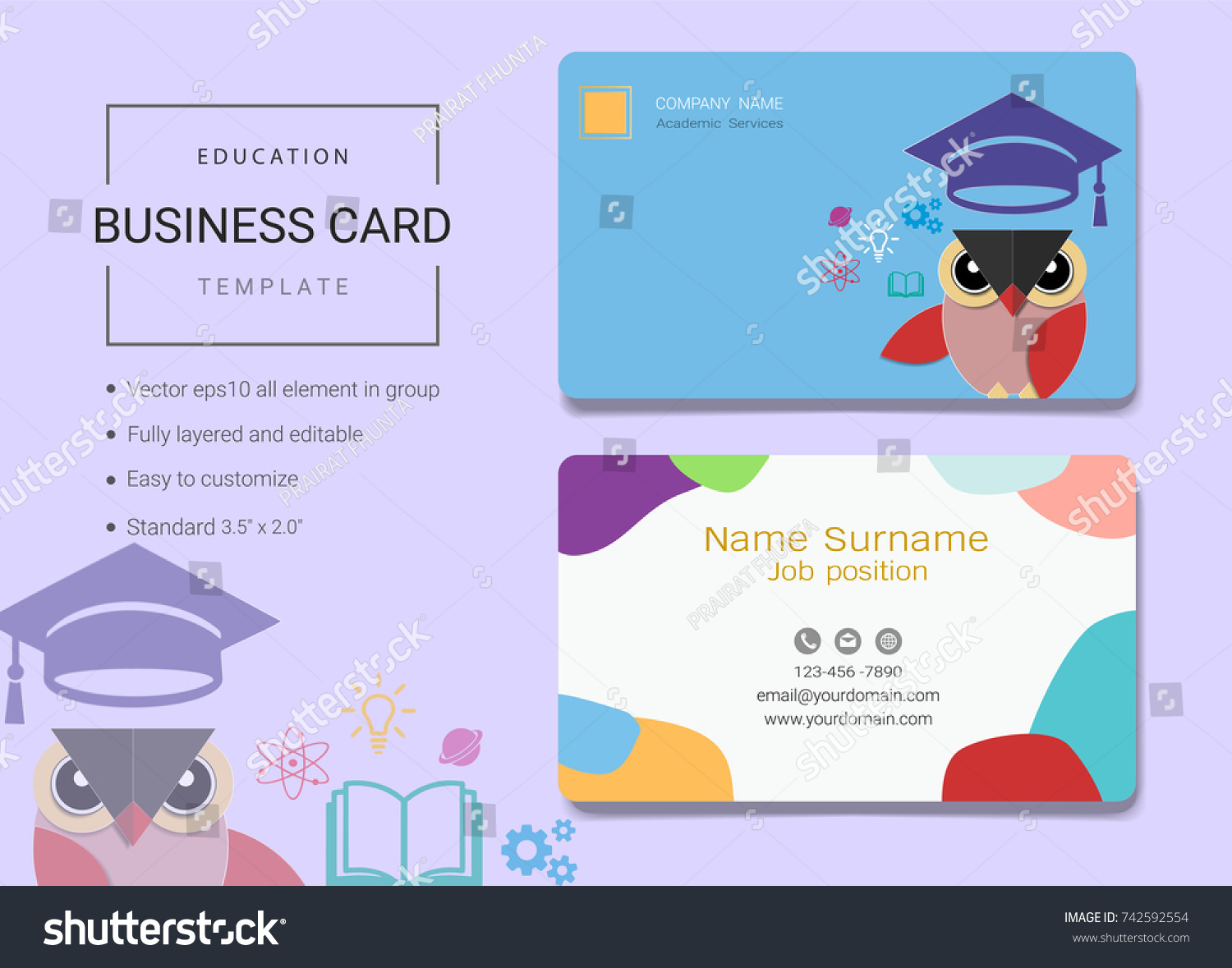 Education business card name card template stock vector 742592554 education business card or name card template simple style also modern and elegant with owl magicingreecefo Gallery