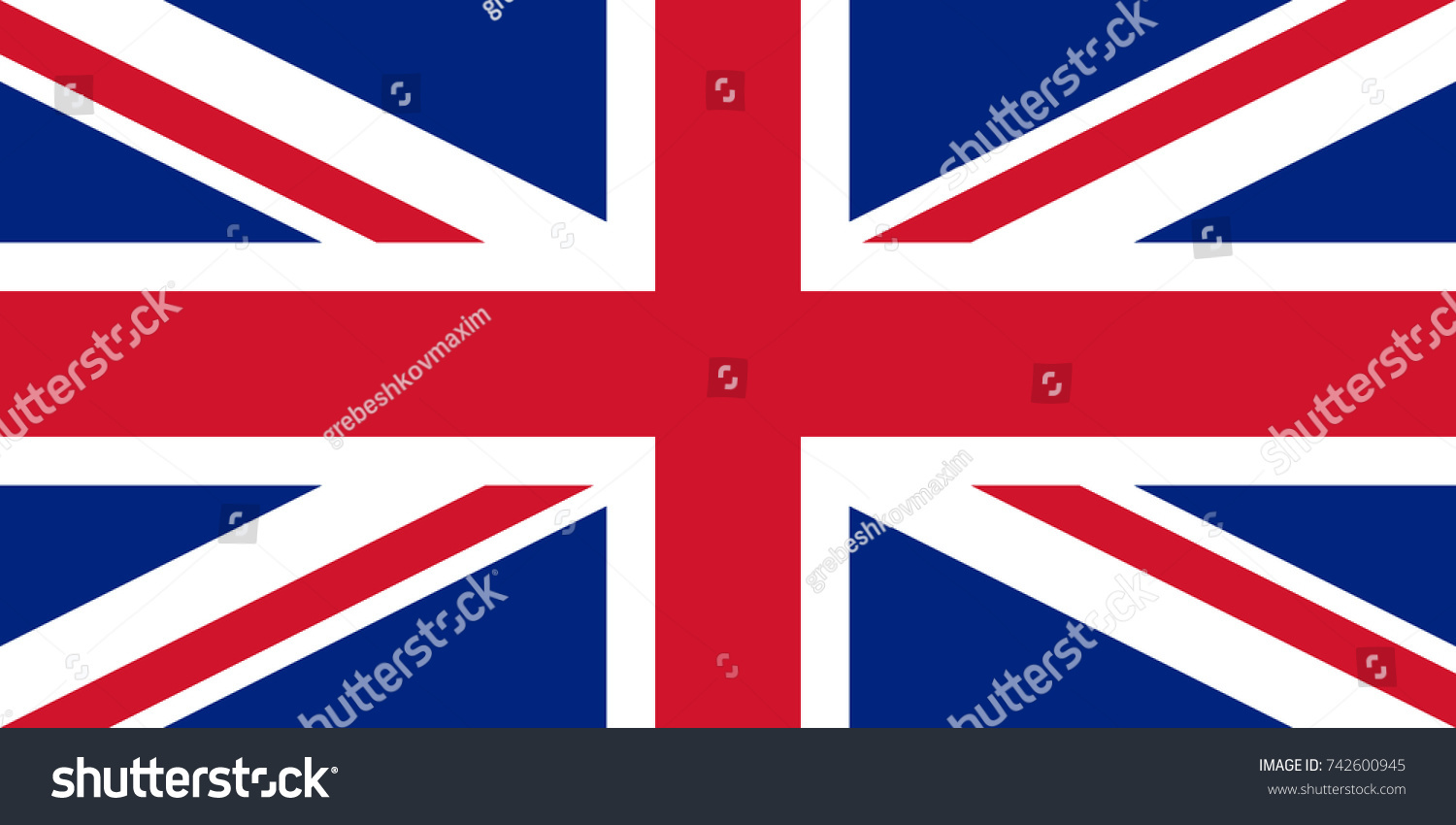 Simple Flag United Kingdom British Flag Stock-Vektorgrafik 742600945 ...