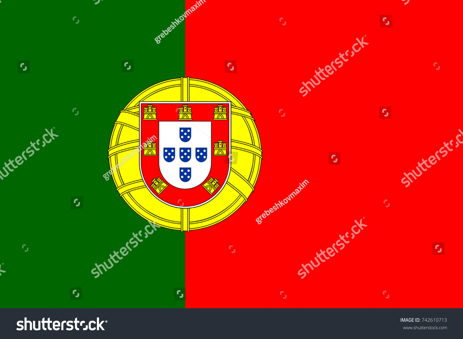 Simple Flag Portugal Portuguese Flag Correct Stock-Vektorgrafik ...