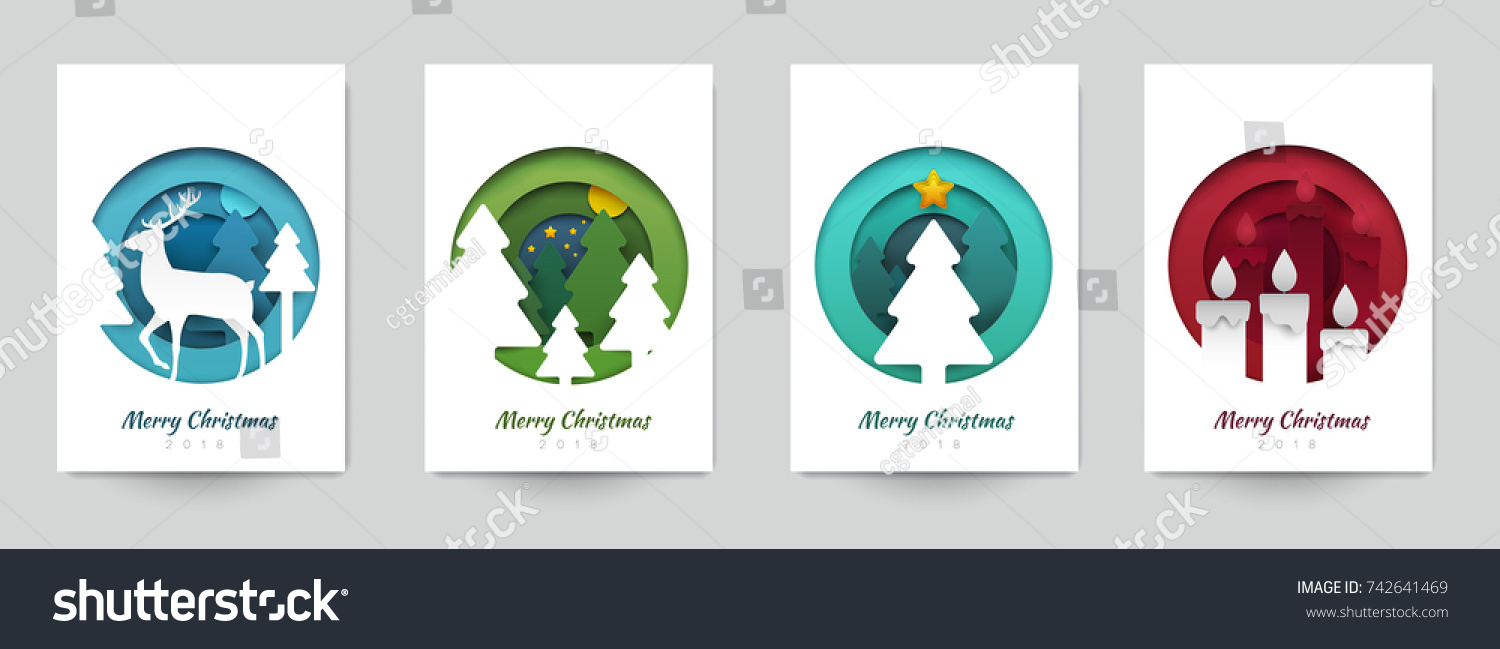 Set background for covers, invitations, posters, banners, flyers, placards. Minimal template design for branding, advertising with winter christmas composition in paper cut style. Vector illustration. #742641469