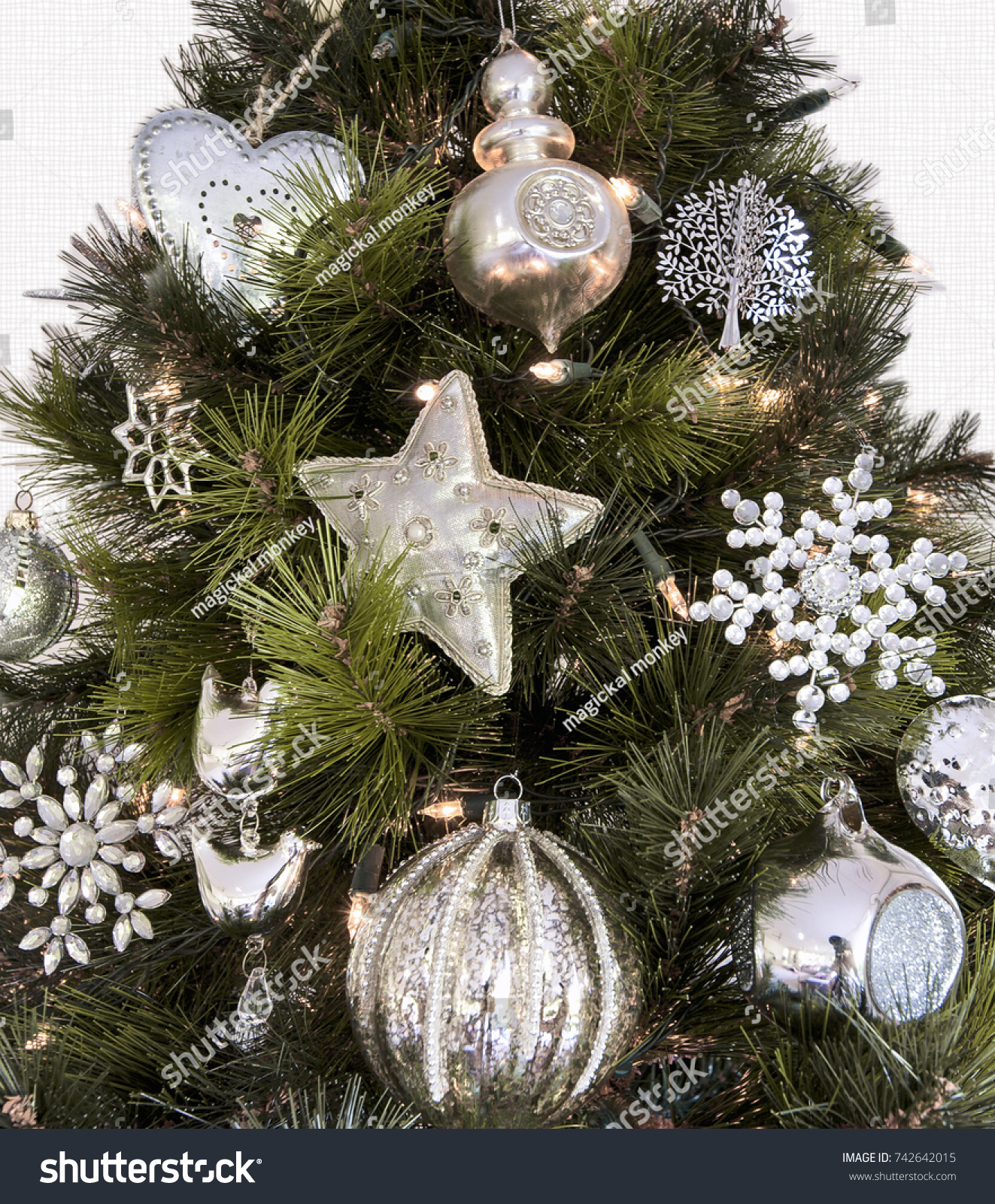 Section Christmas Tree White Silver Decorations Stock