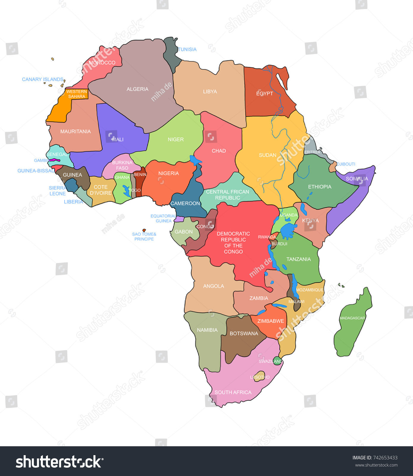 Africa Map Countries Name On Stock Illustration 742653433