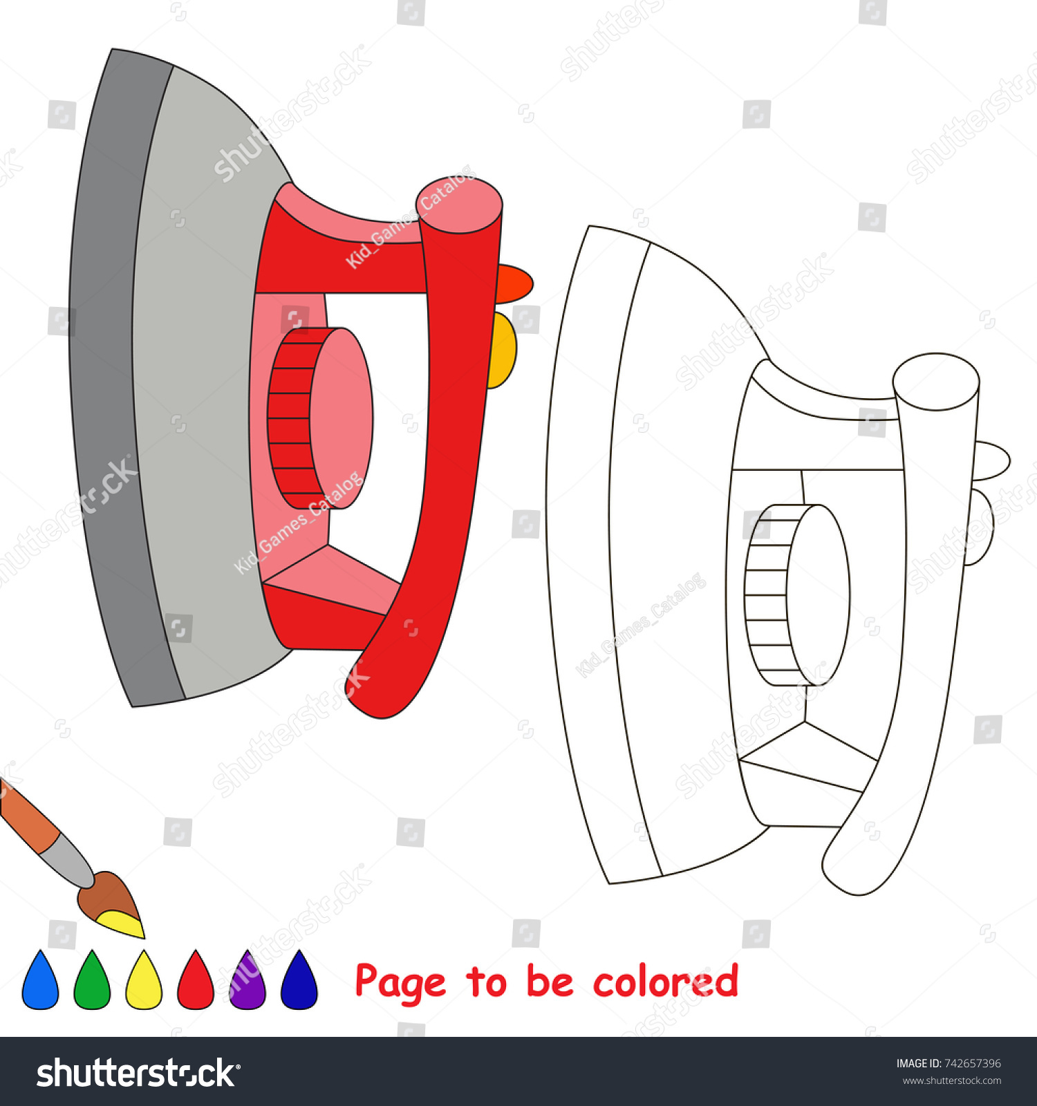 Red Steam Iron Be Colored Coloring Stock Vector 742657396 - Shutterstock