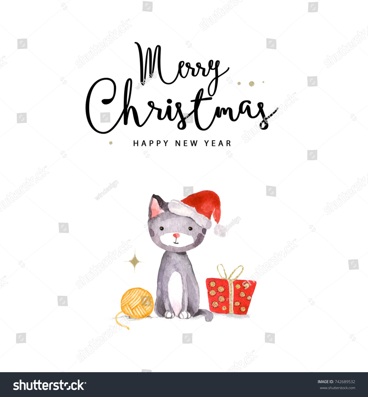 merry christmas and happy new year card watercolor illustration of cat