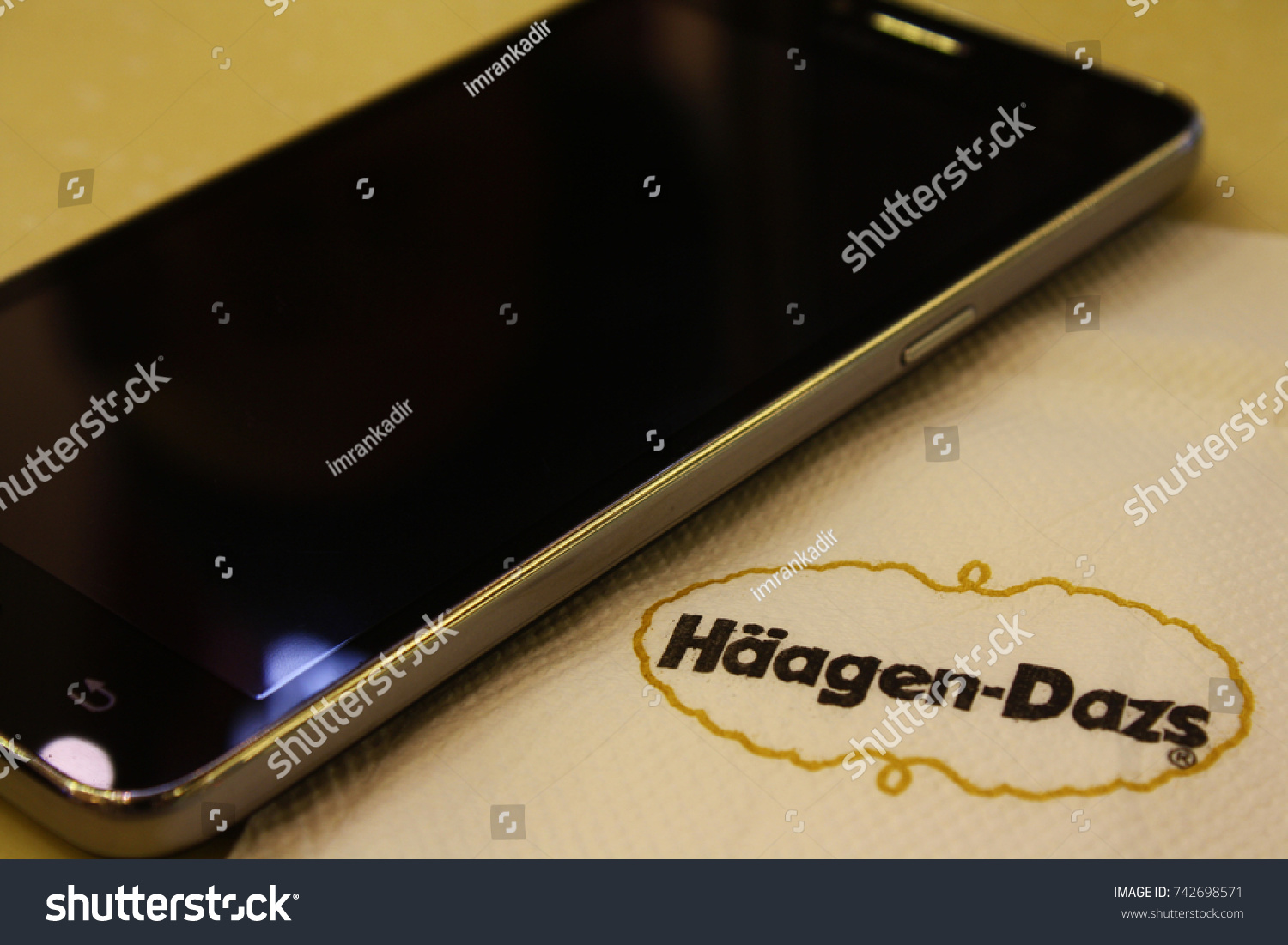 Photo haagen dazs malaysia brand android stock photo 742698571 photo for haagen dazs malaysia brand with android on the top of the table photo buycottarizona