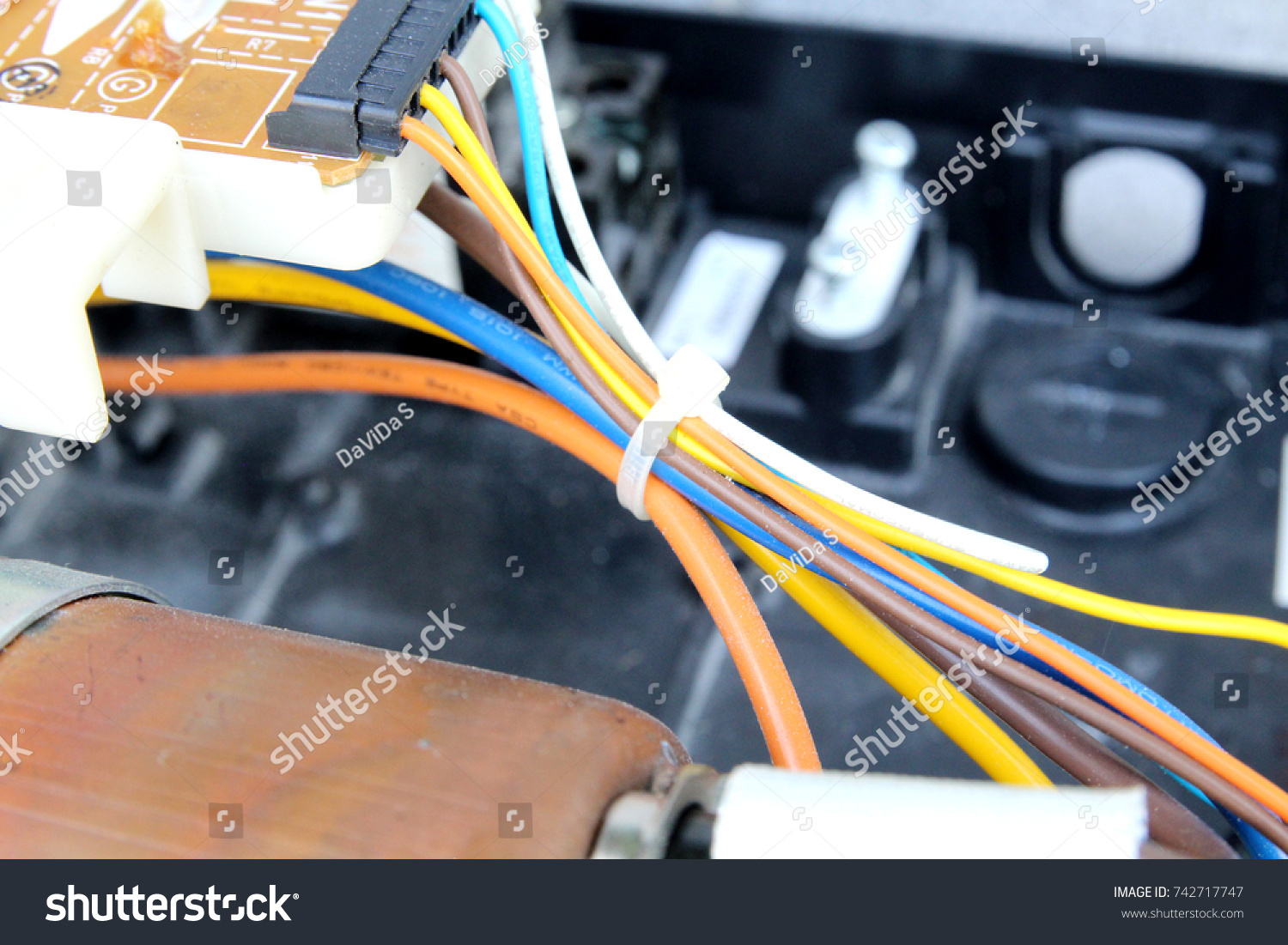 Plastic Tie Colorful Wire Circuit Electronic Stock Photo Edit Now Wiring Water Heater Of And Board Close Up