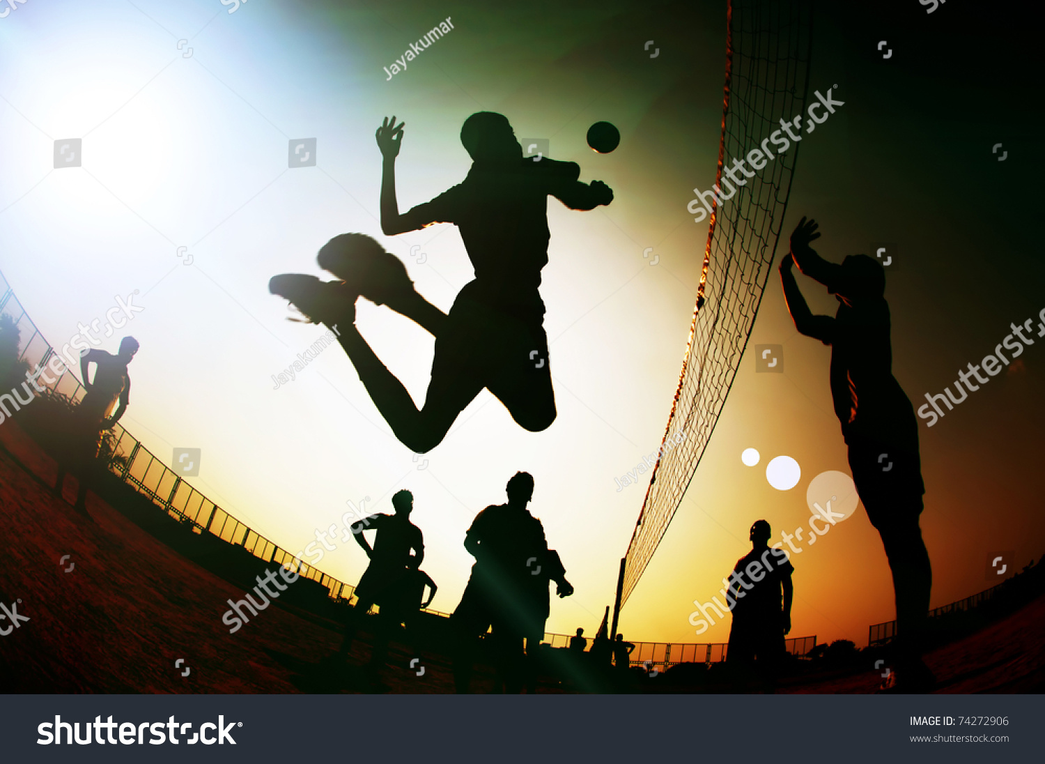 Silhouette Volleyball Player Stock Photo 74272906