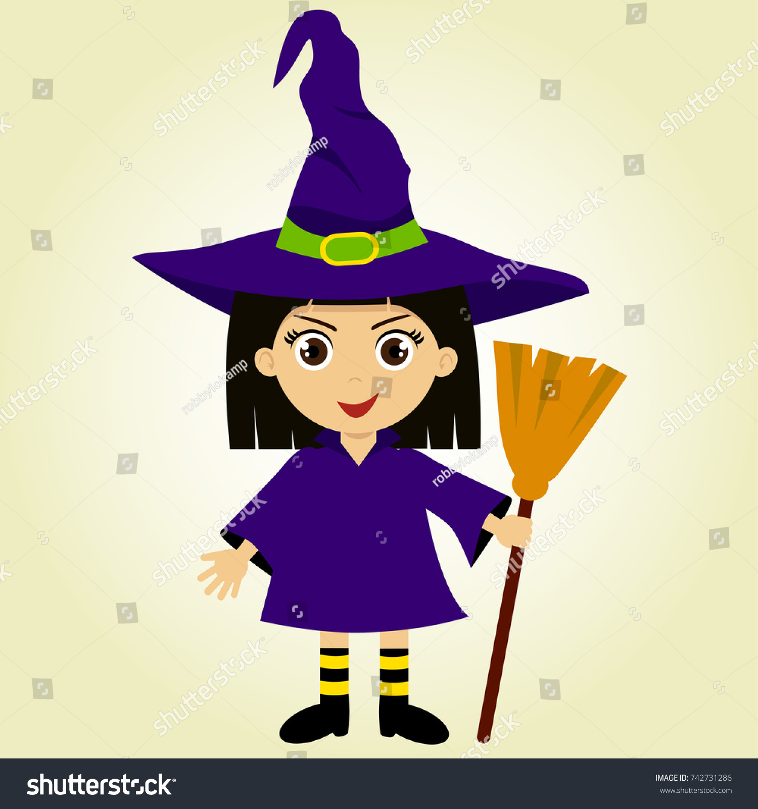 Cute Halloween Costume Lovely Girl Witch Stock Vector Royalty Free 742731286