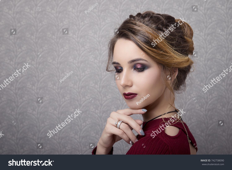 Glamorous Portrait Woman Coiffed Hair Stylish Stock Photo Edit Now