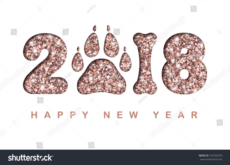 Happy New Year 2018 Paper Cut Stock Vector 742755070 - Shutterstock