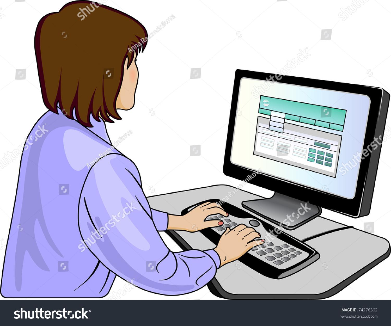 womanprogrammer near computer stock vector 74276362 shutterstock