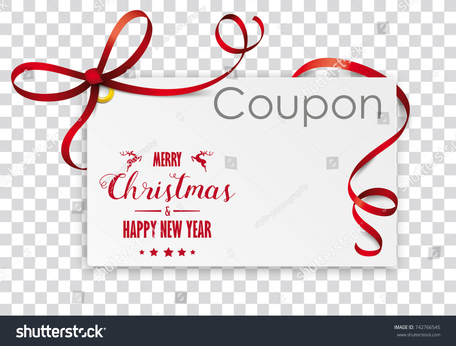 Christmas Coupon Card On Checked Background Stock Vector 742766545 ...
