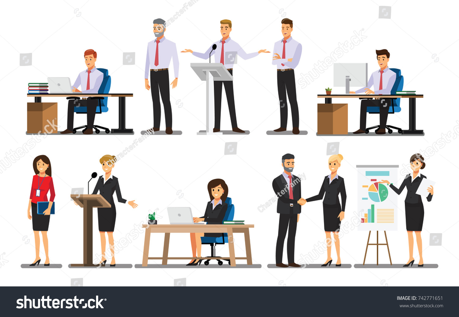 Businessman character In the office set  ,Vector illustration  #742771651