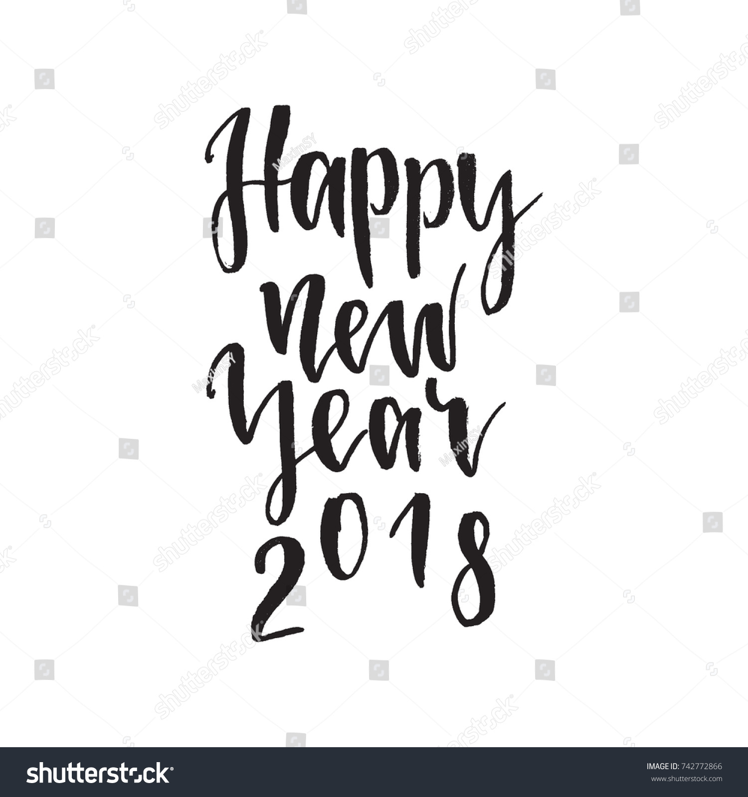 Happy New Year 2018 Inspirational Quote Stock Vector Royalty Free