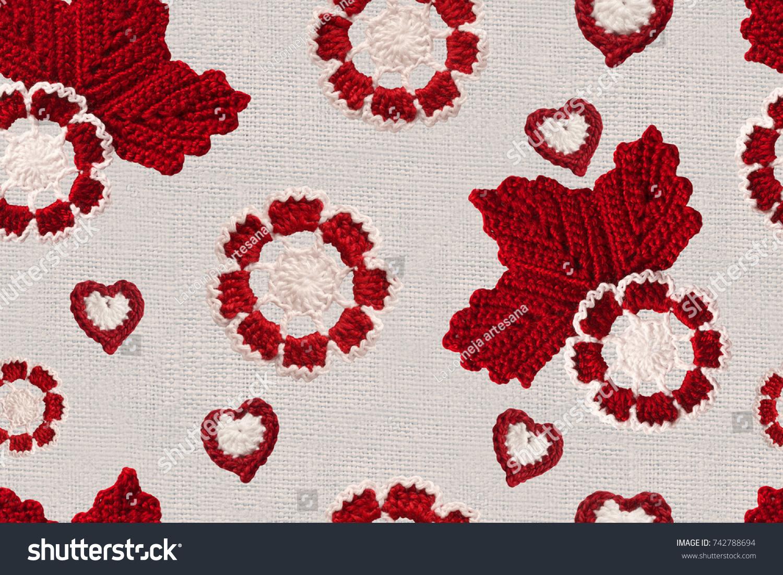 Seamless pattern handmade crochet flowers leaves stock seamless pattern with handmade crochet flowers and leaves linen creative cotton irish crochet lace white bankloansurffo Images