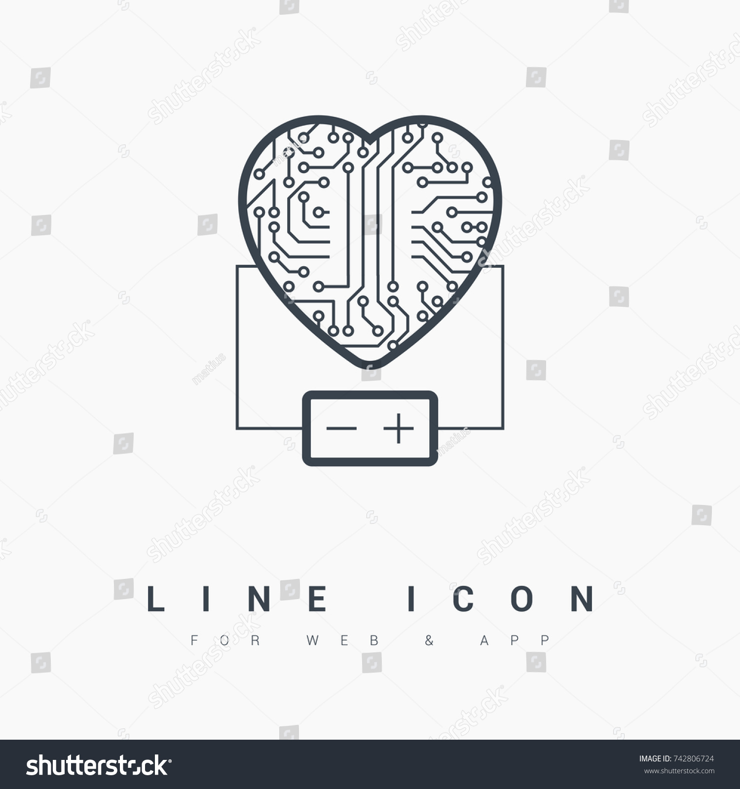 Electronic Circuit Board Heart Battery Line Stock Vector (2018 ...
