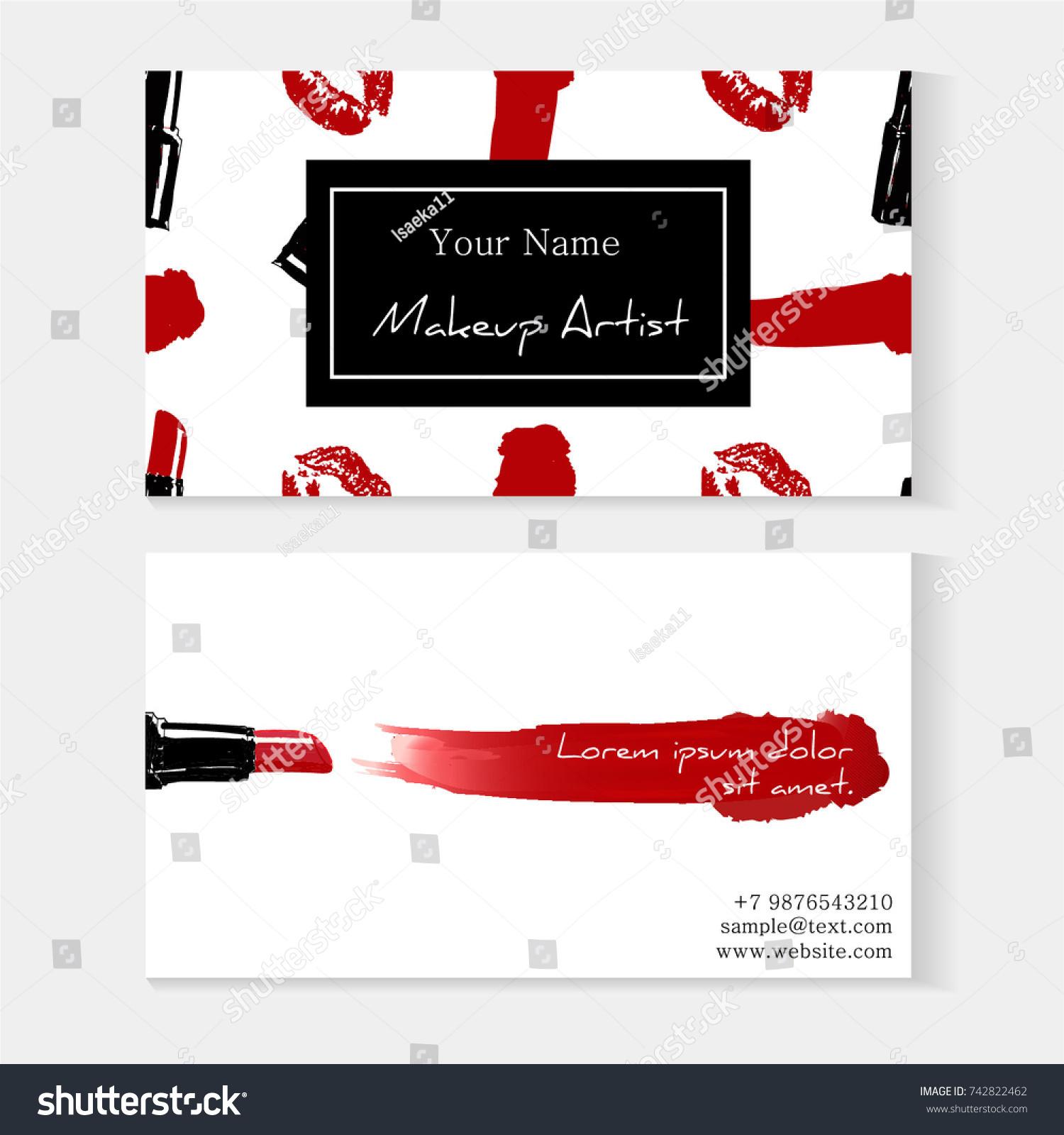 Makeup Artist Business Card Template Red Stock Vector 742822462 ...