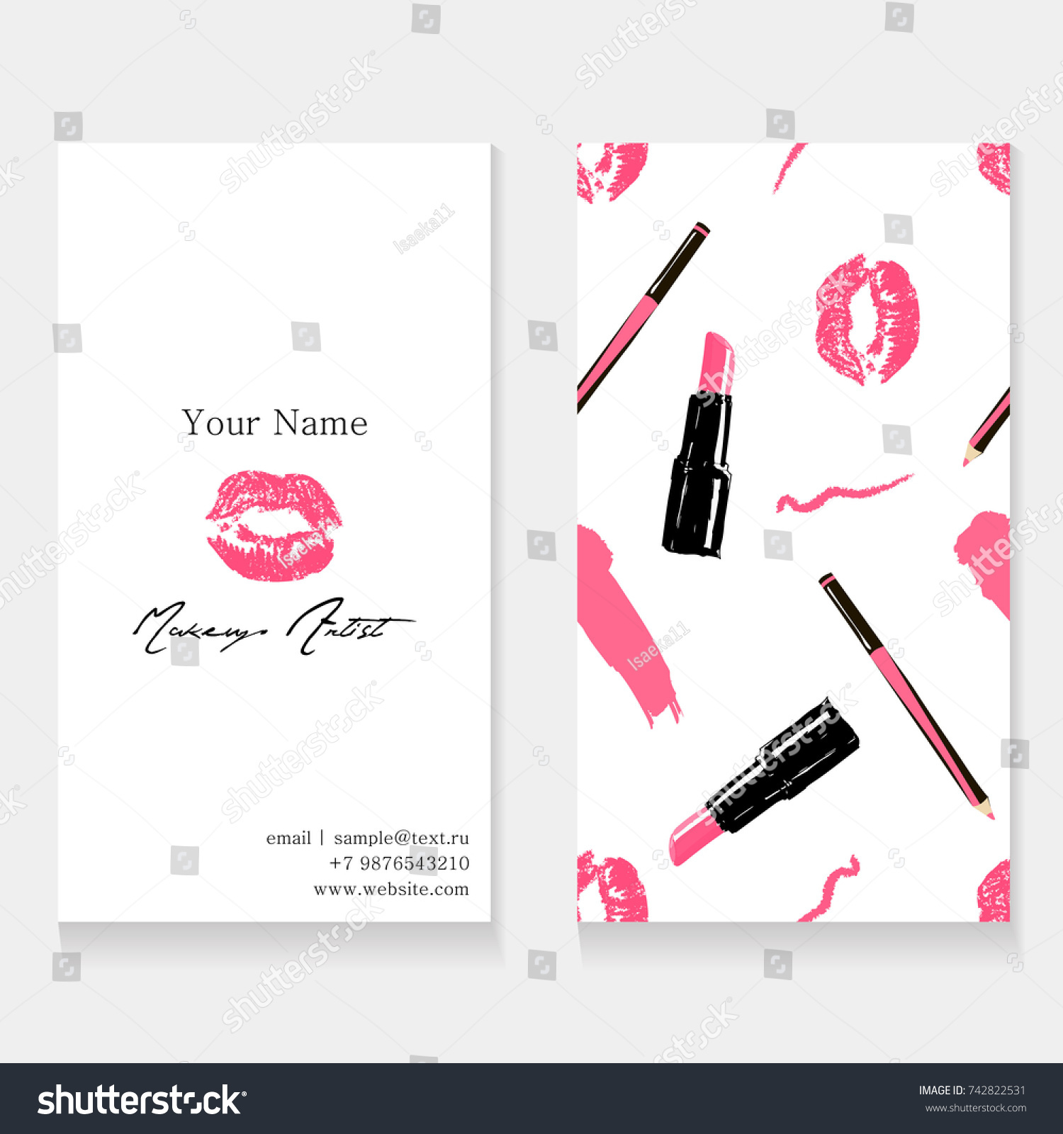 Makeup Artist Business Card Template Cosmetics Stock Vector ...