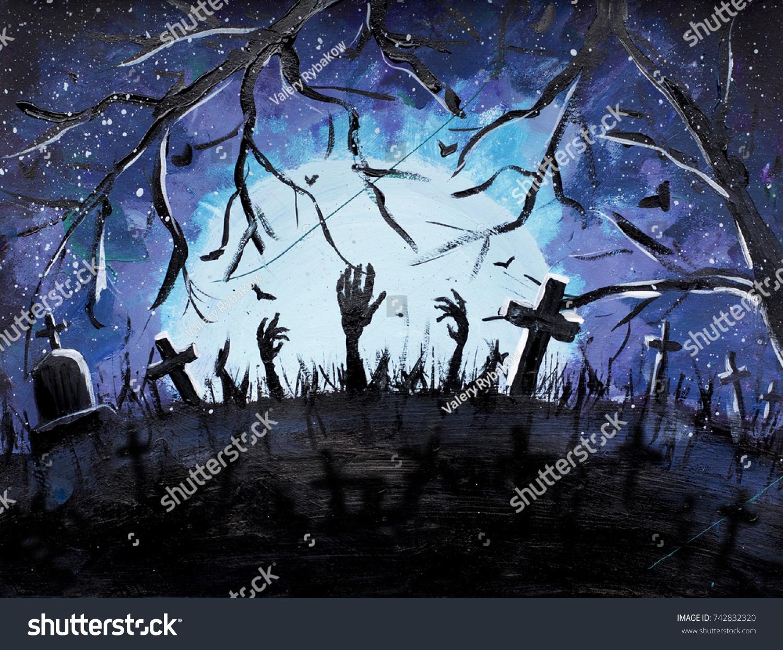 halloween cemetery graves painting halloween hands stock