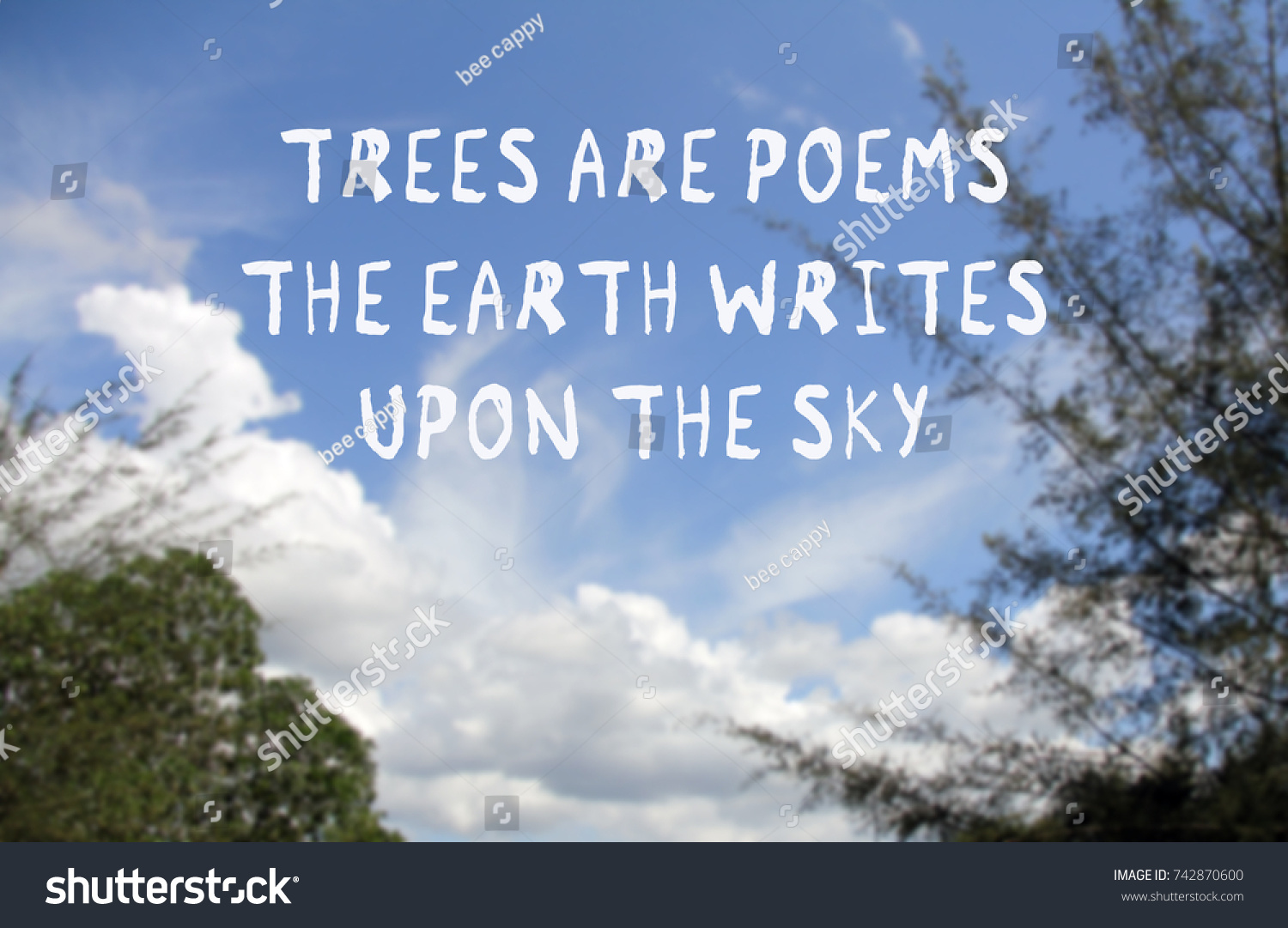 Quotes Nature Nature Quotes Trees Poems Earth Writes Stock Photo 742870600
