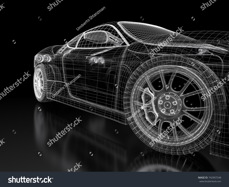 Car Vehicle 3 D Blueprint Mesh Model Stockillustration 742907248 ...