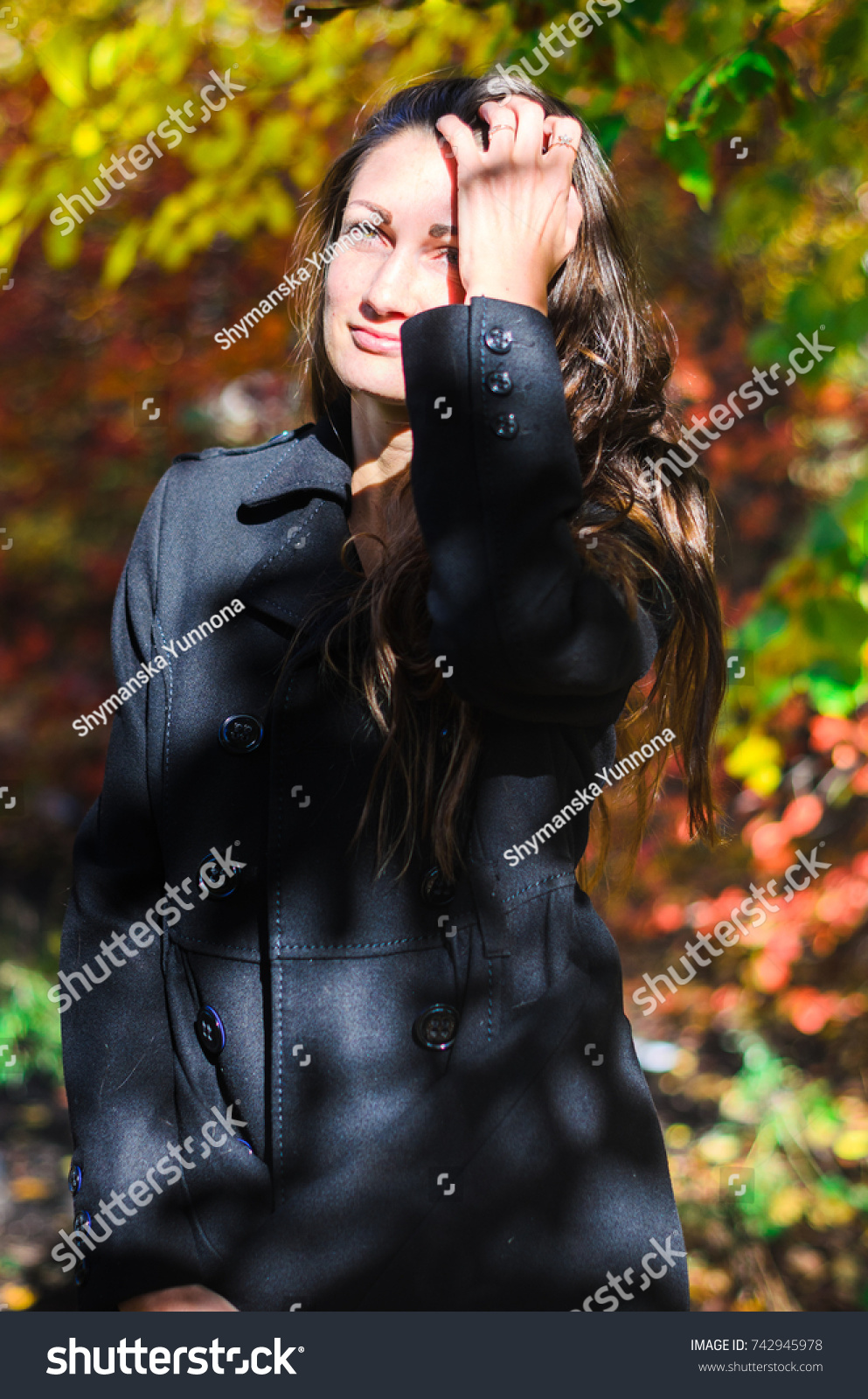 8f639aedf Young Girl Classic Black Coat Blue Stock Photo (Edit Now) 742945978 ...