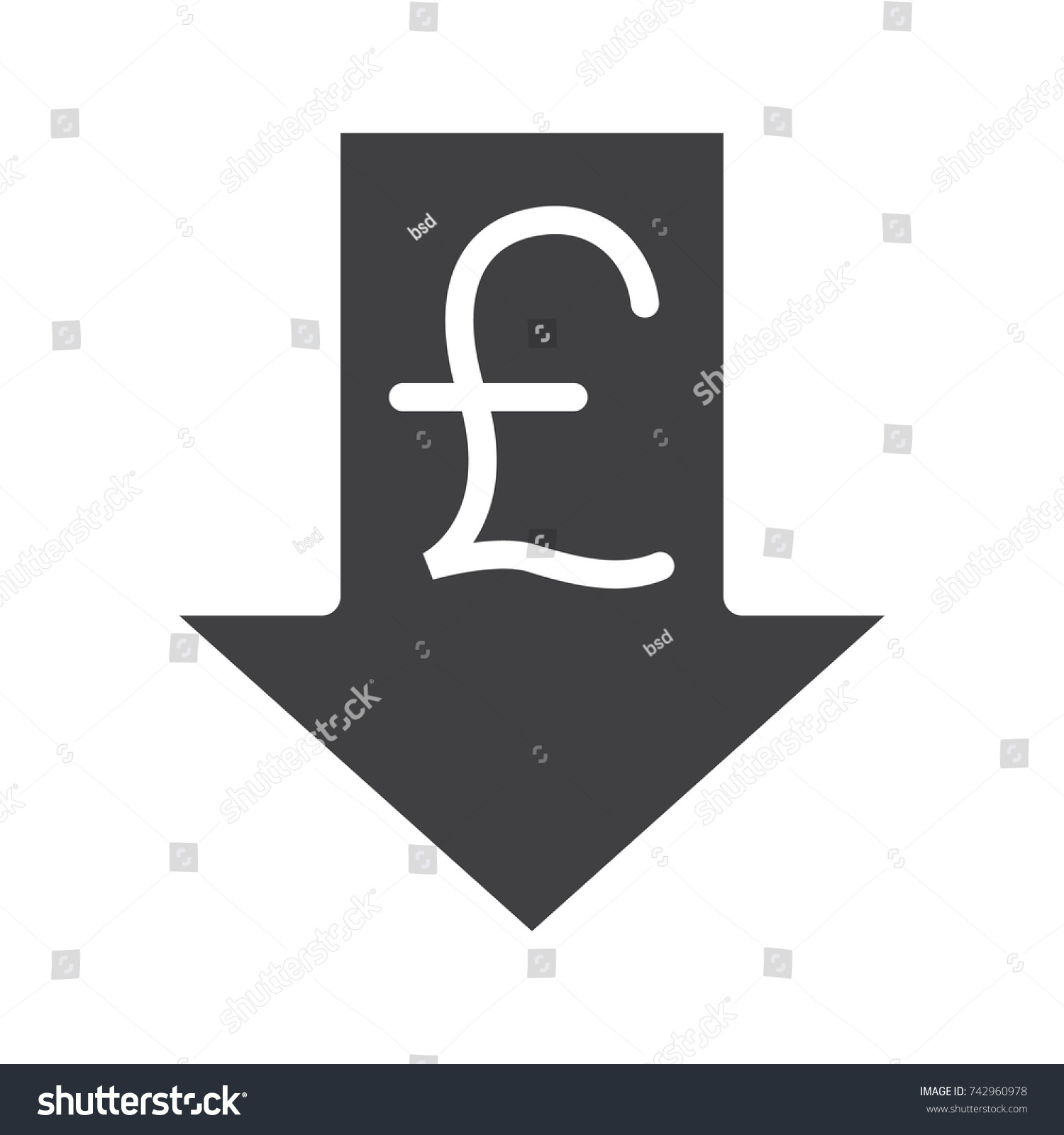 Pound Rate Falling Glyph Icon Silhouette Stock Illustration