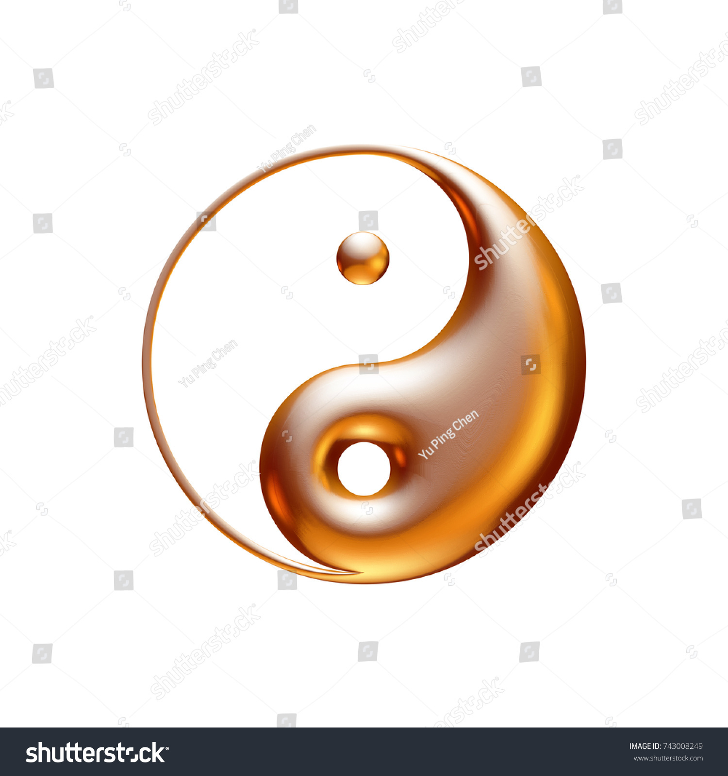 One Yin Yang Sign Shiny Gold Stock Illustration 743008249 Shutterstock