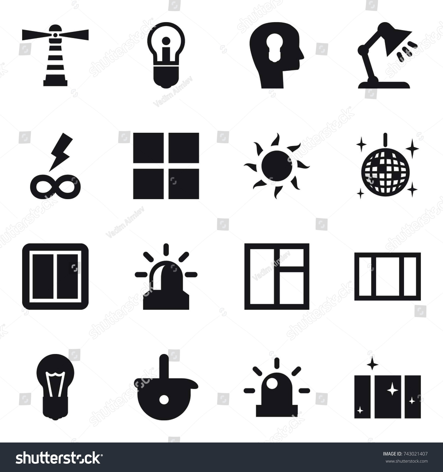 16 Vector Icon Set Lighthouse Bulb Stock Vector 743021407 - Shutterstock for Power Window Symbol  111ane