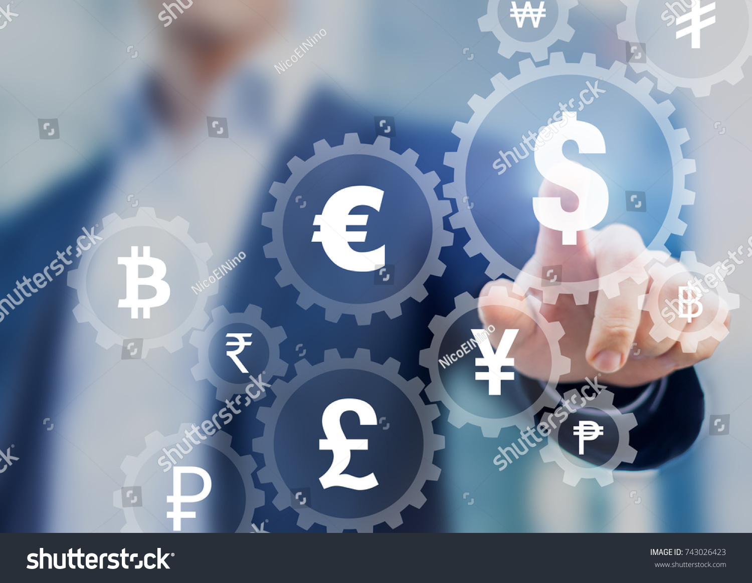 Foreign exchange trading concept currency symbols stock photo foreign exchange trading concept with currency symbols inside connected gears to show connection between money biocorpaavc Images