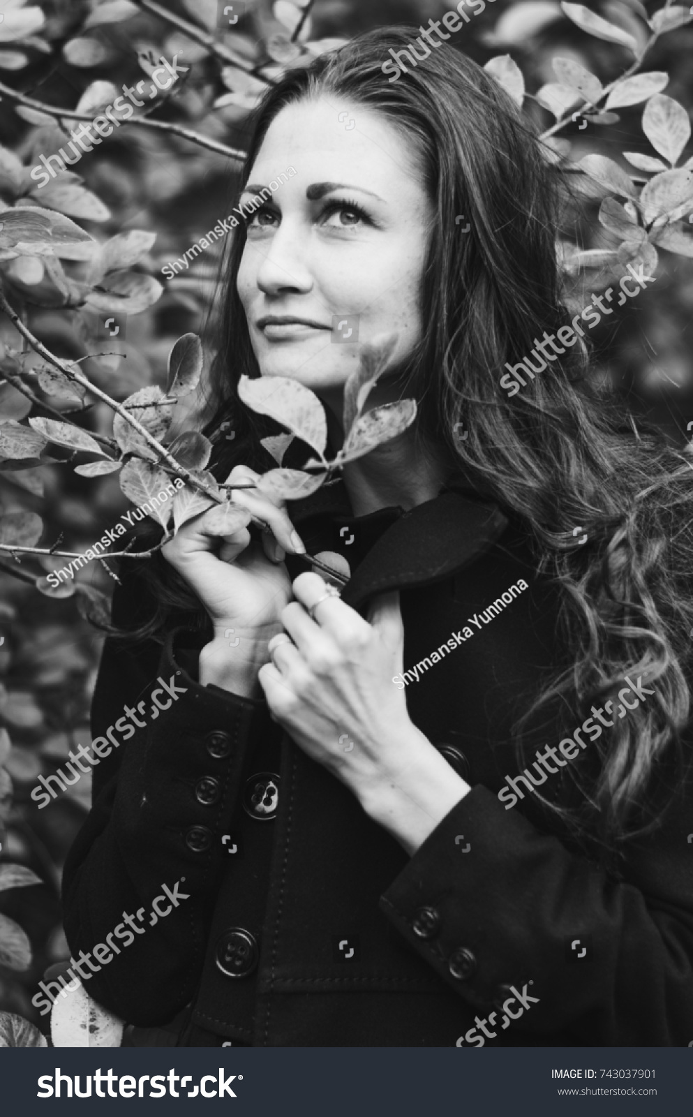 ed70bd072 Young Girl Classic Black Coat Blue Stock Photo (Edit Now) 743037901 ...