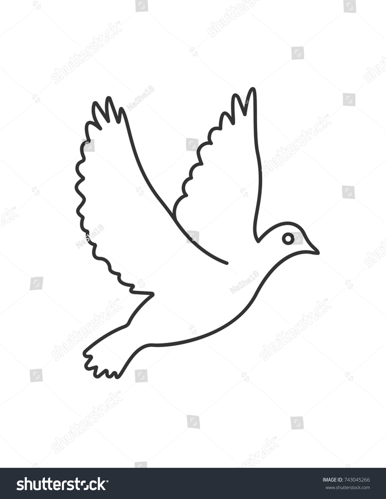 Flying Pigeon Dove Symbol Peace Vector Stock Vector Royalty Free