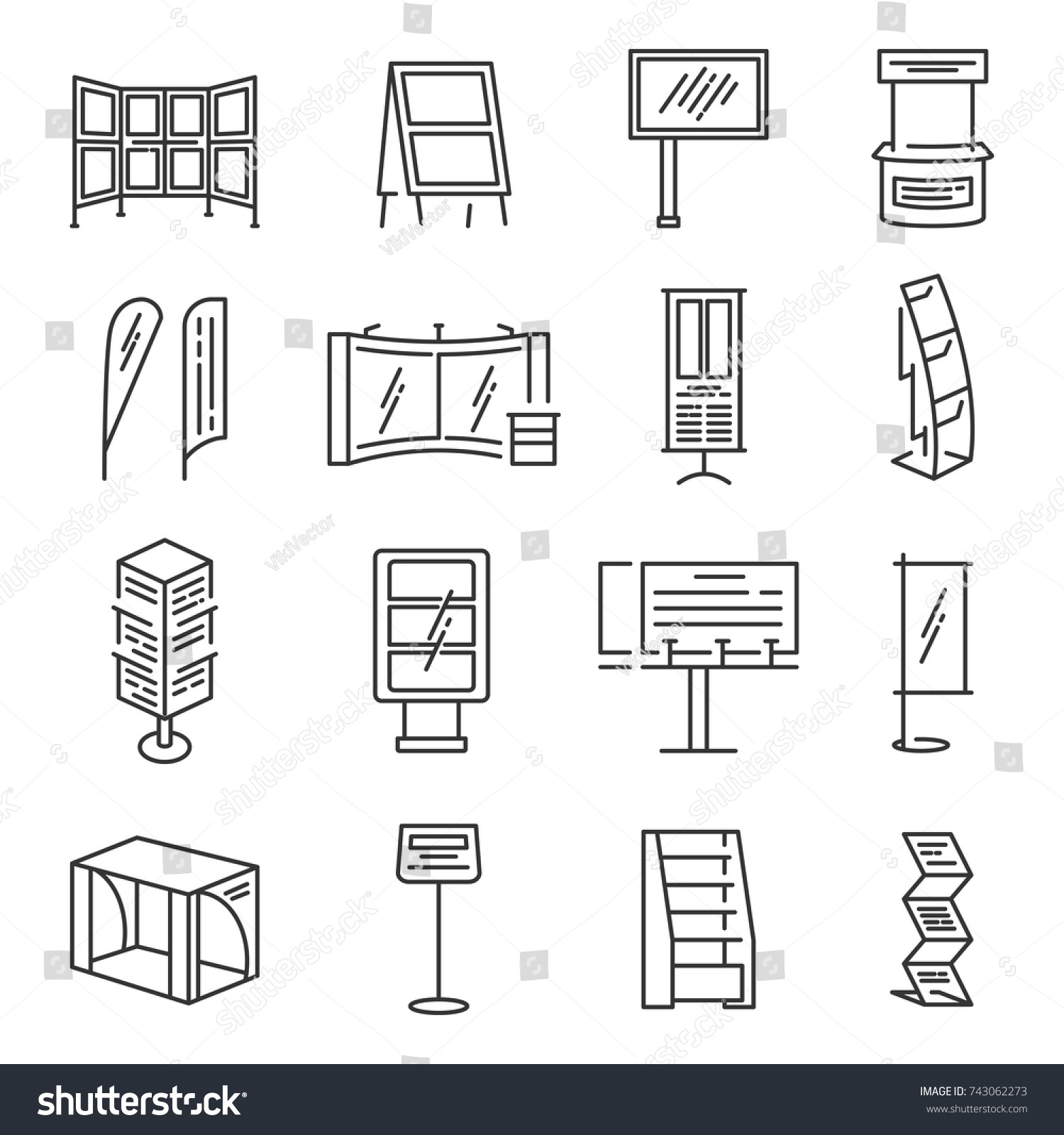 Exhibition Stand Icon : Exhibition stand icon set section stock vector