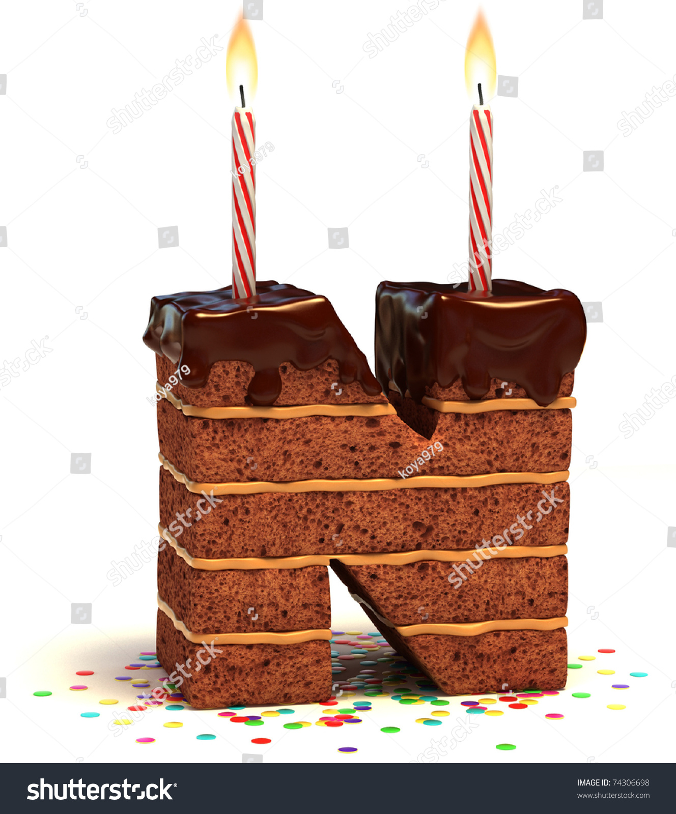 Letter N Shaped Chocolate Birthday Cake Stock Illustration 74306698