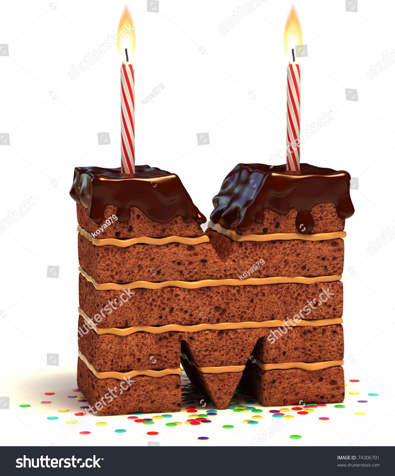 Letter M Shaped Chocolate Birthday Cake Stock Illustration
