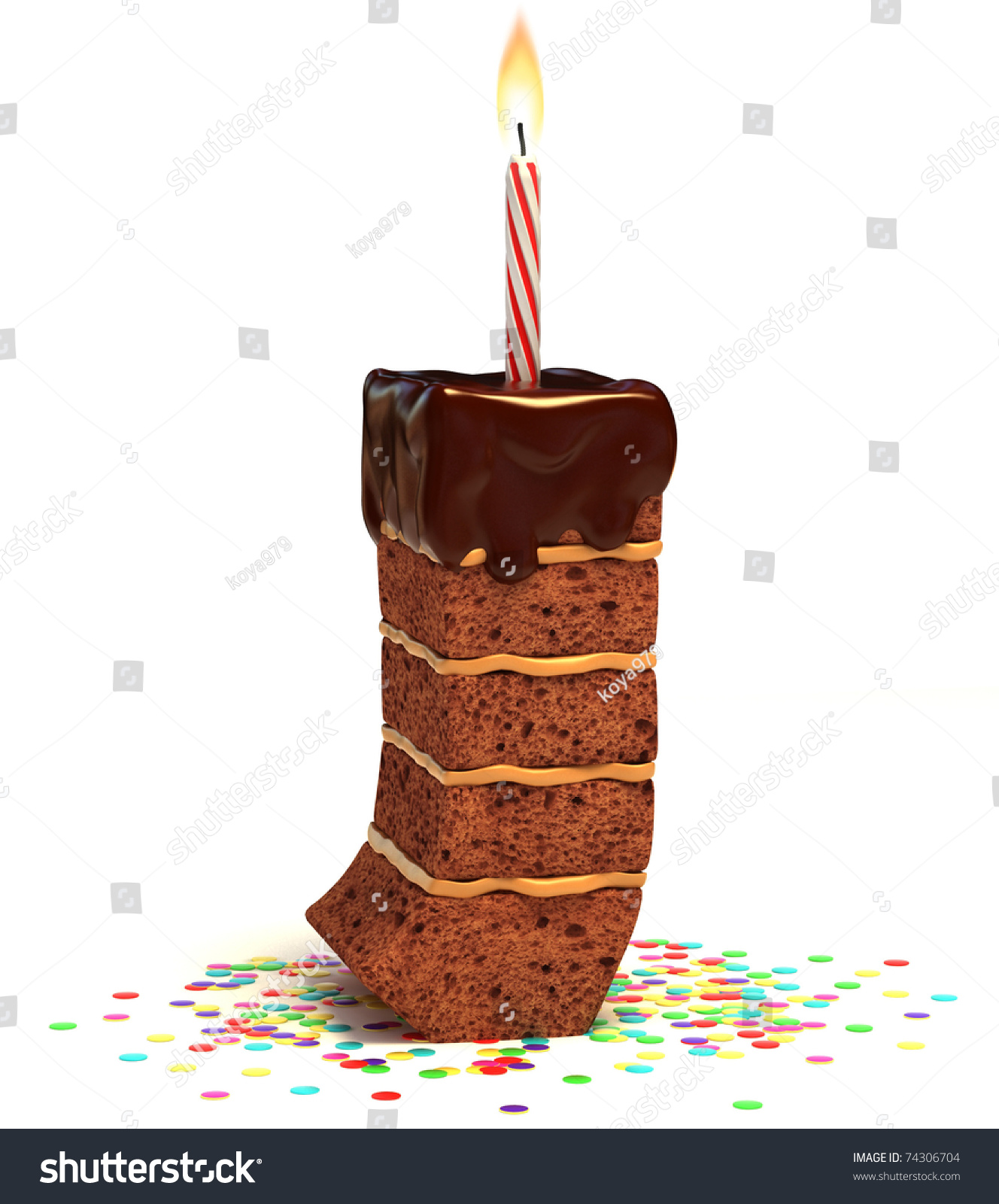 Letter J Shaped Chocolate Birthday Cake Stock Illustration 74306704