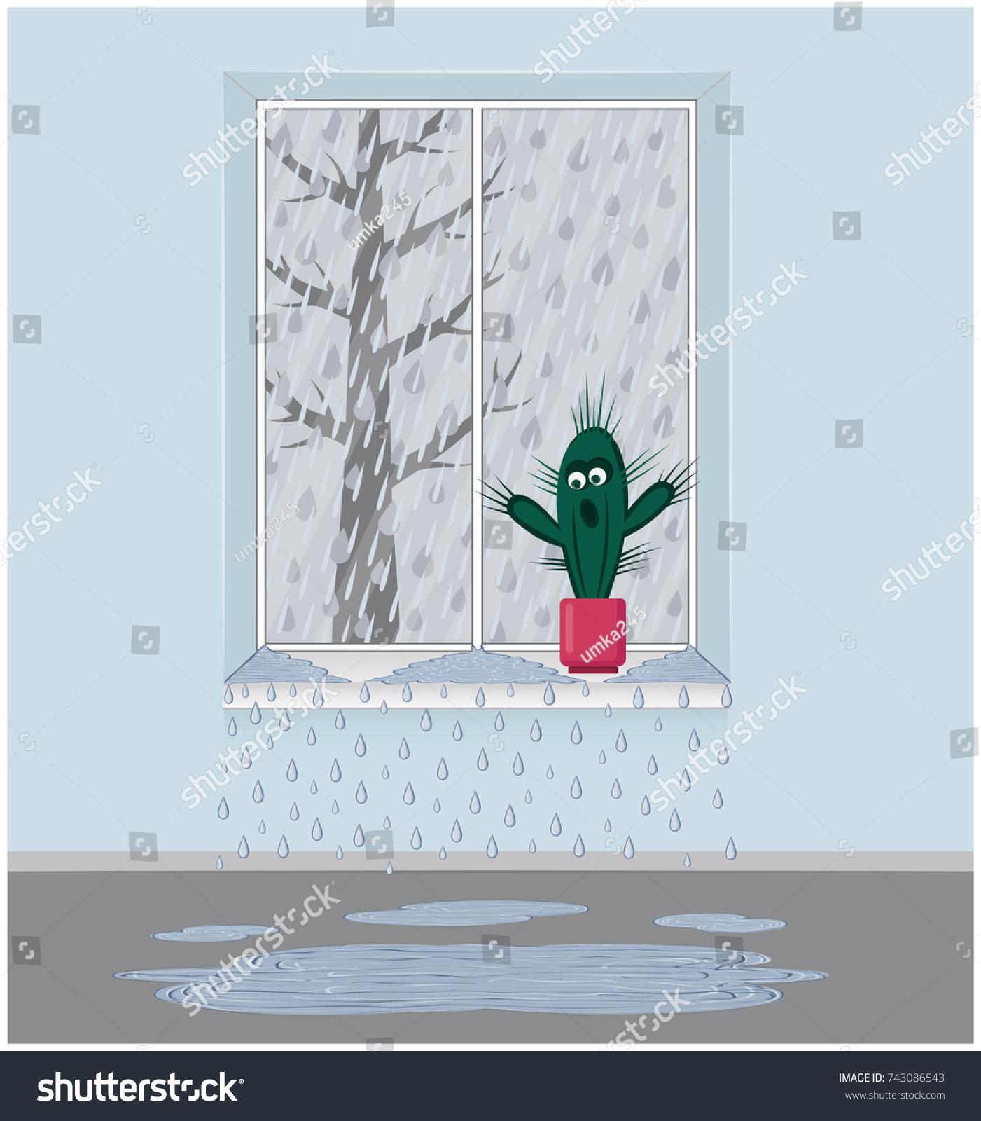 Rain Outside Window Frame Leaking Window Stock Illustration ...