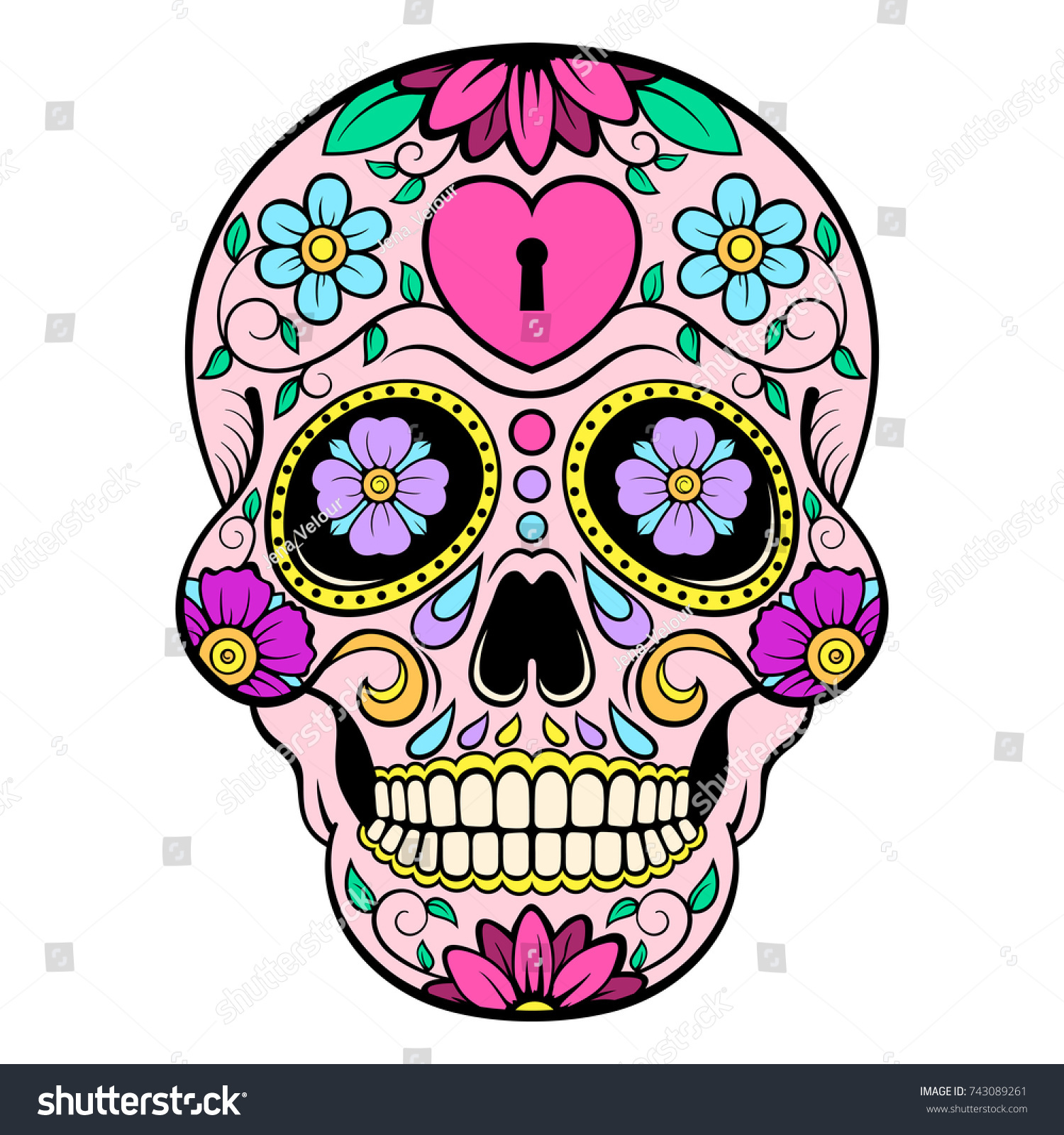 sugar skull heart flower ornament day stock vector 2018 743089261 rh shutterstock com day of the dead vector art day of the dead girl vector